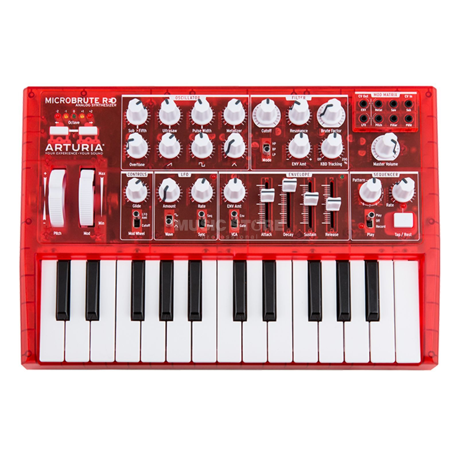 Arturia MicroBrute Red Analog Synthesizer Produktbillede