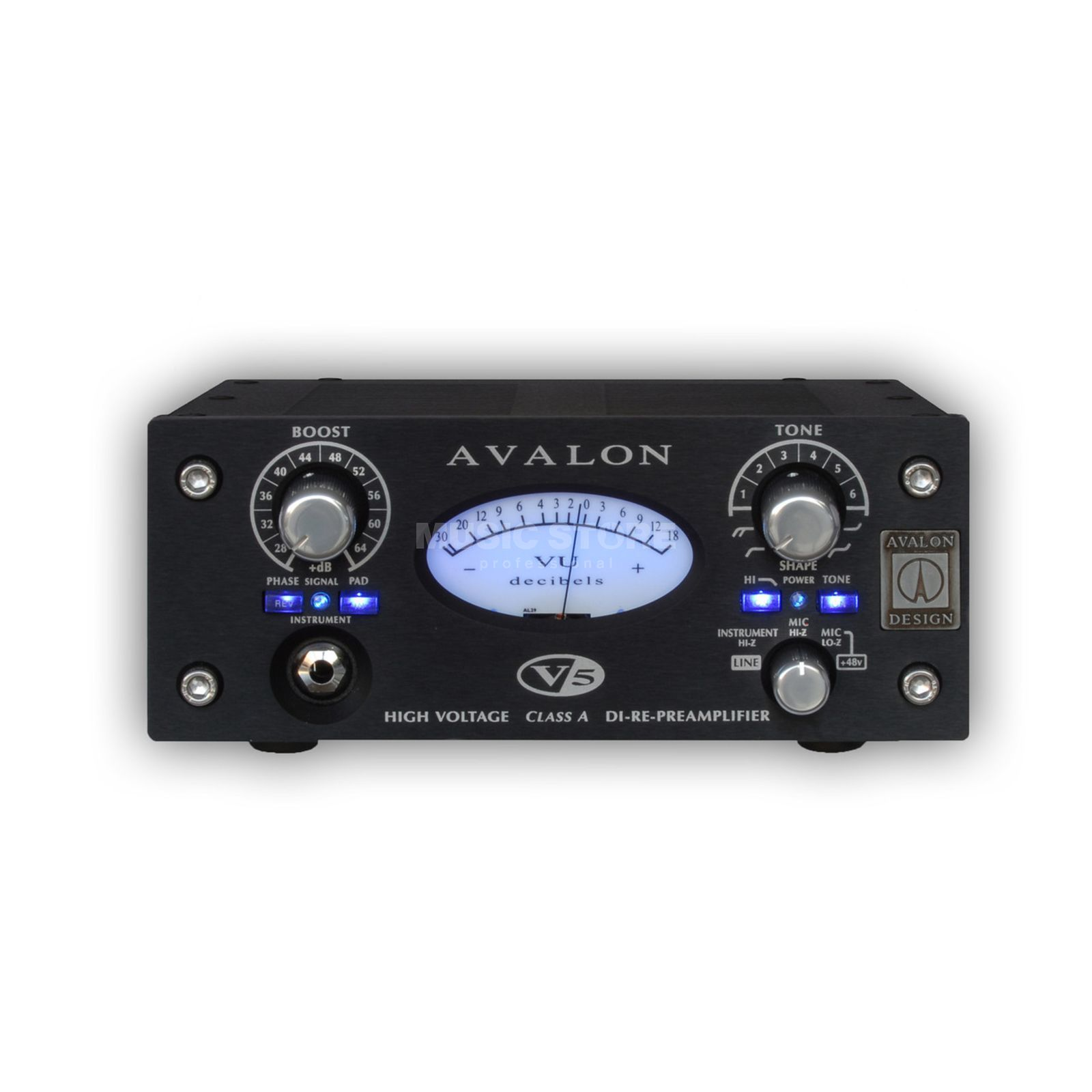 Avalon Design V5 Black 1 canal D.I.-Re-Mic Preamp Image du produit
