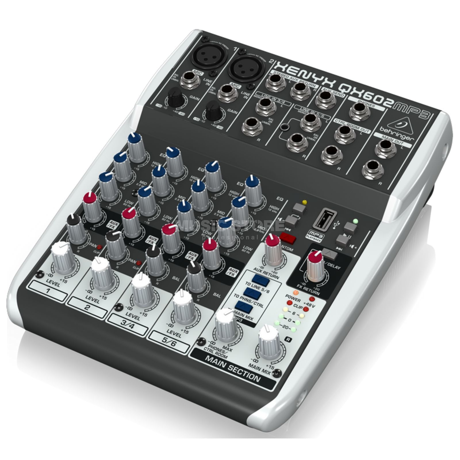 Behringer XENYX QX602MP3 6-Input 2-Bus Mixer with MP3 Player Product Image
