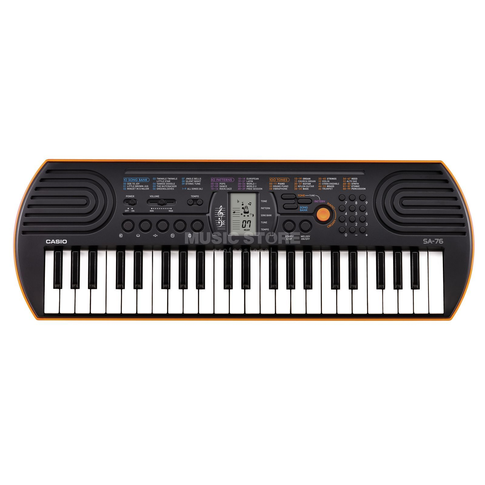 Casio SA 76 Keyboard, red-orange Produktbillede