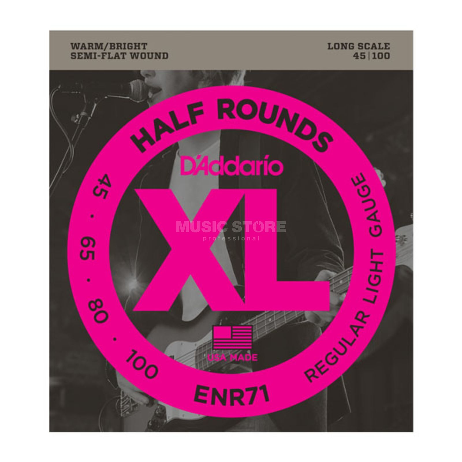 D'Addario 4 Set Bass XL Half Rounds 45-100 45-65-80-100, ENR71 Изображение товара