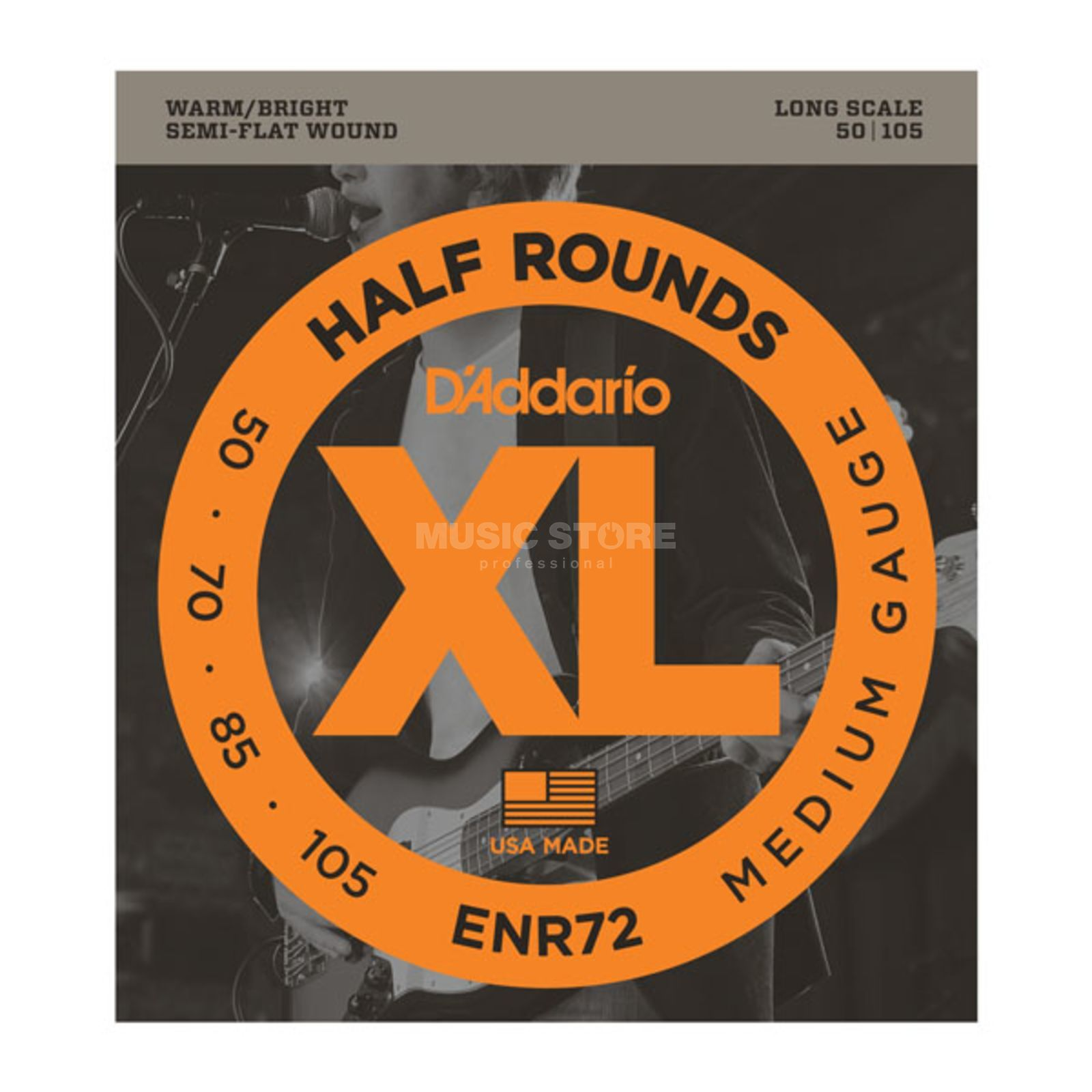 D'Addario 4 Set Bass XL Half Rounds 50-105 50-70-85-105, ENR72 Product Image