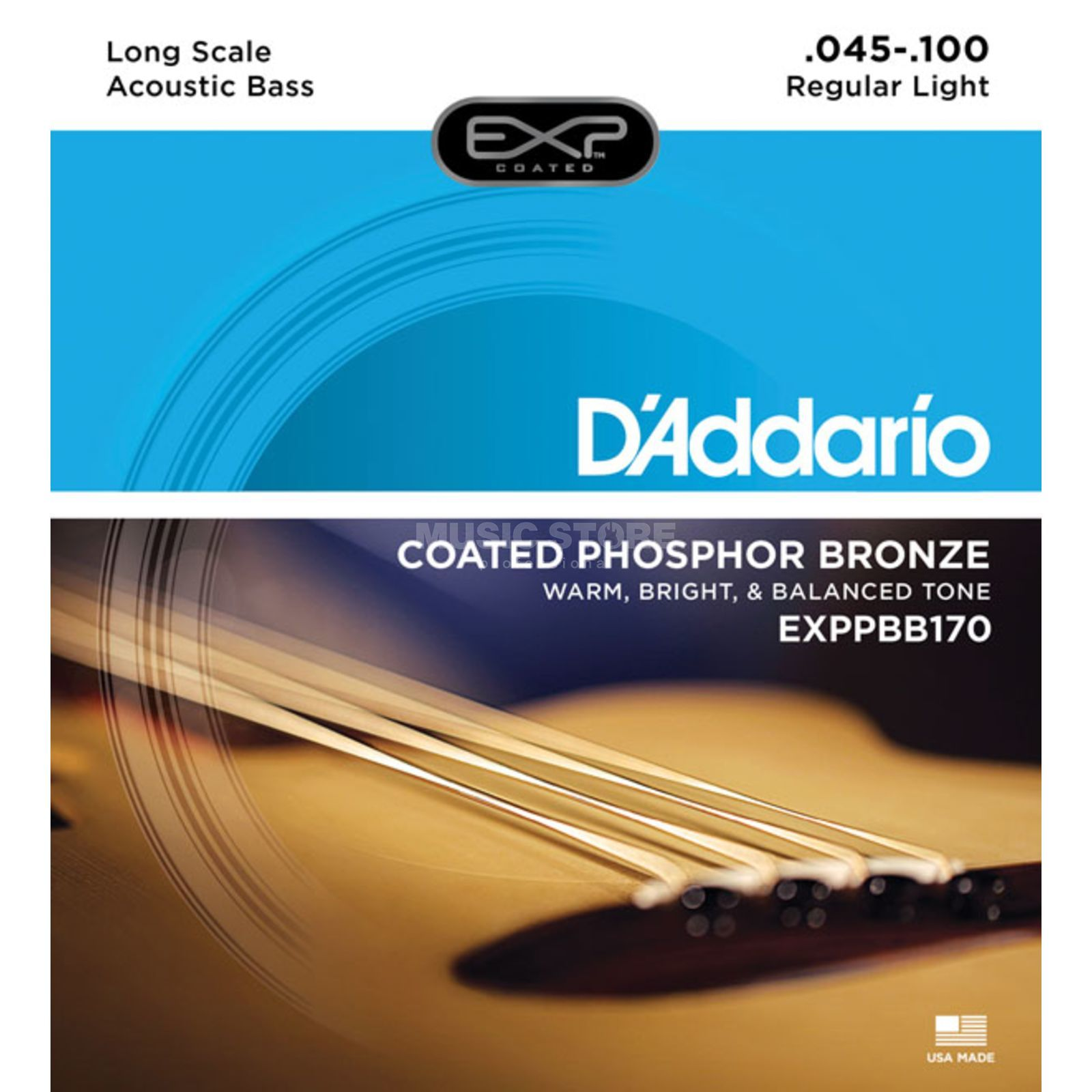 D'Addario Acoustic Bass Strings 45-100 EXP Phosphor Bronze Product Image