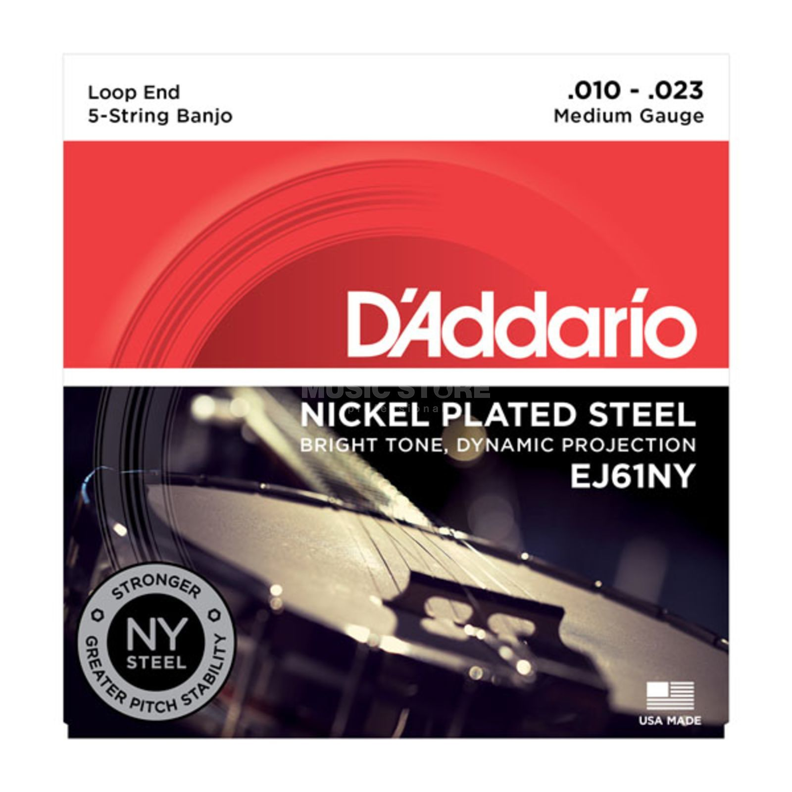 D'Addario Banjo Strings EJ61NY 10-23 5-String Nickel Loop End Produktbillede