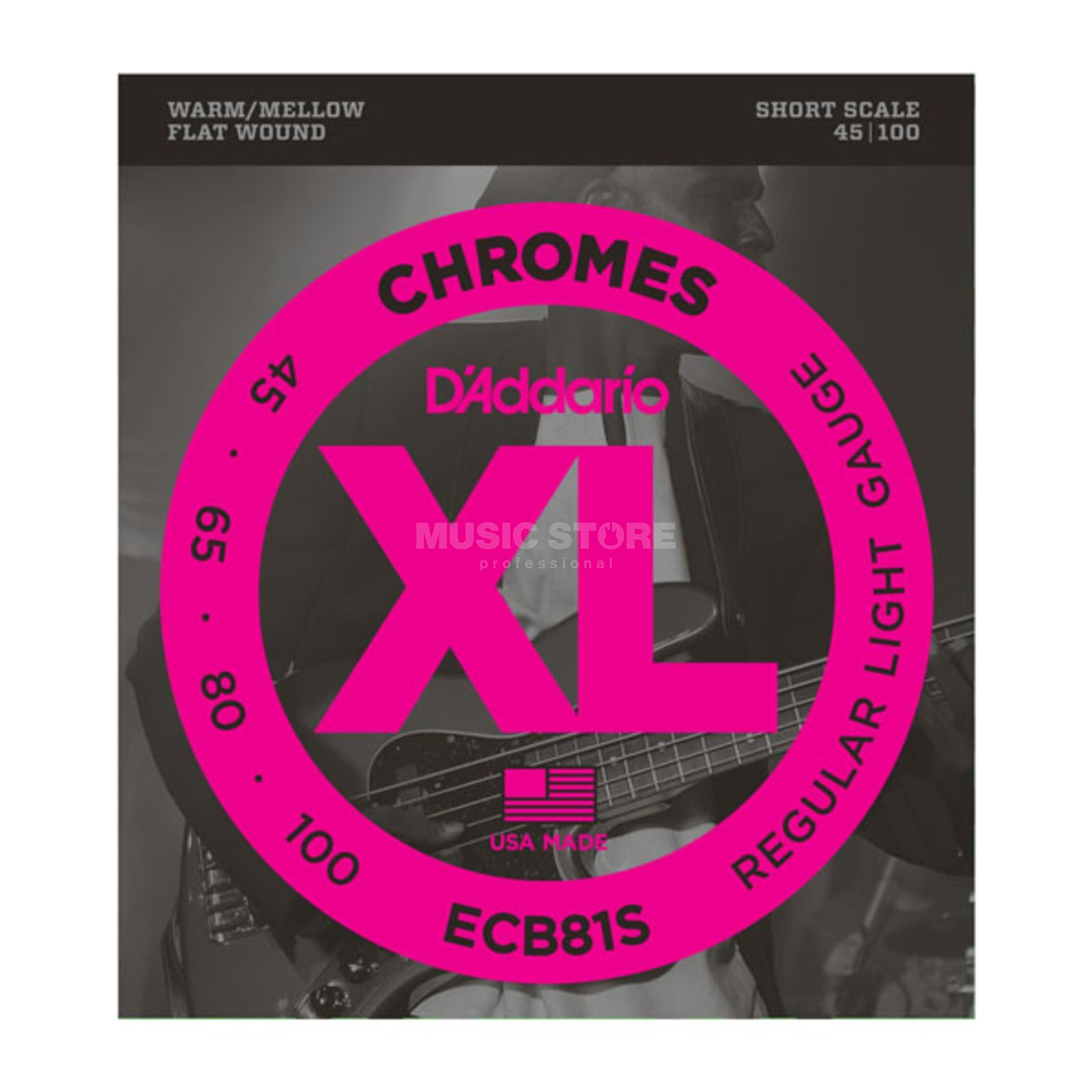 D'Addario Bass Chromes Flat 45-100 45-65-80-100, ECB81S Product Image