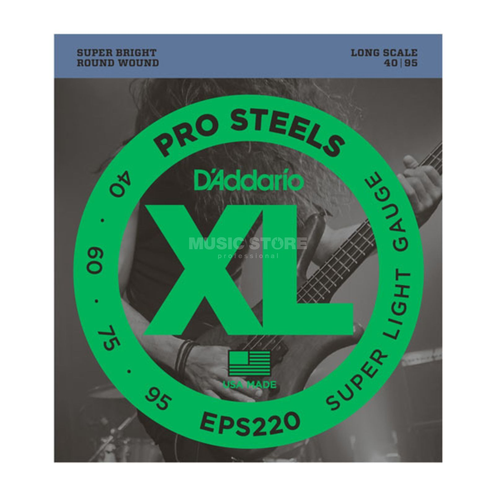 D'Addario Bass Strings Pro Steels 40-095 40-60-75-95, EPS220 Product Image