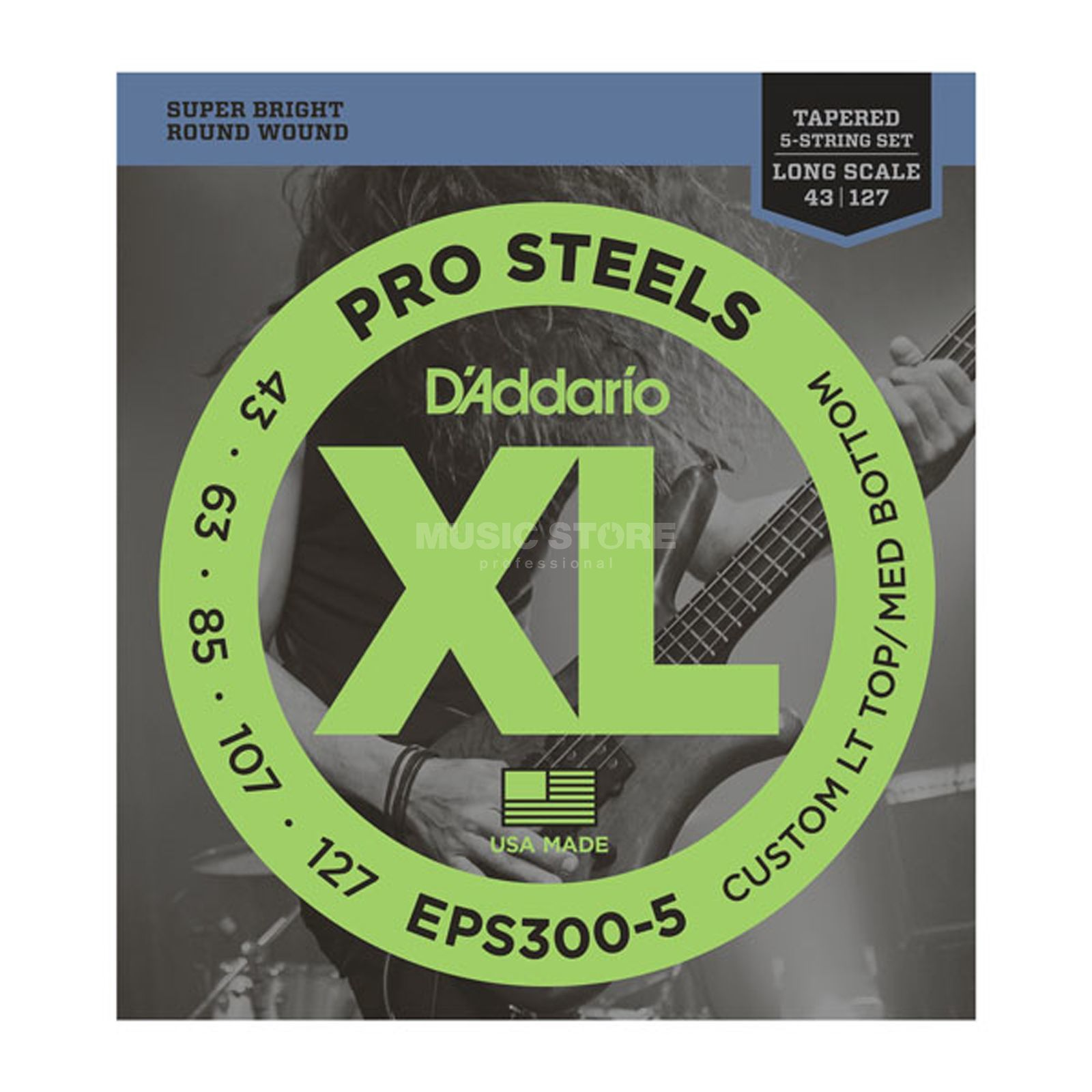 D'Addario Bass Strings Pro Steels 43-130 43-60-85-107-130, EPS300-5 Product Image
