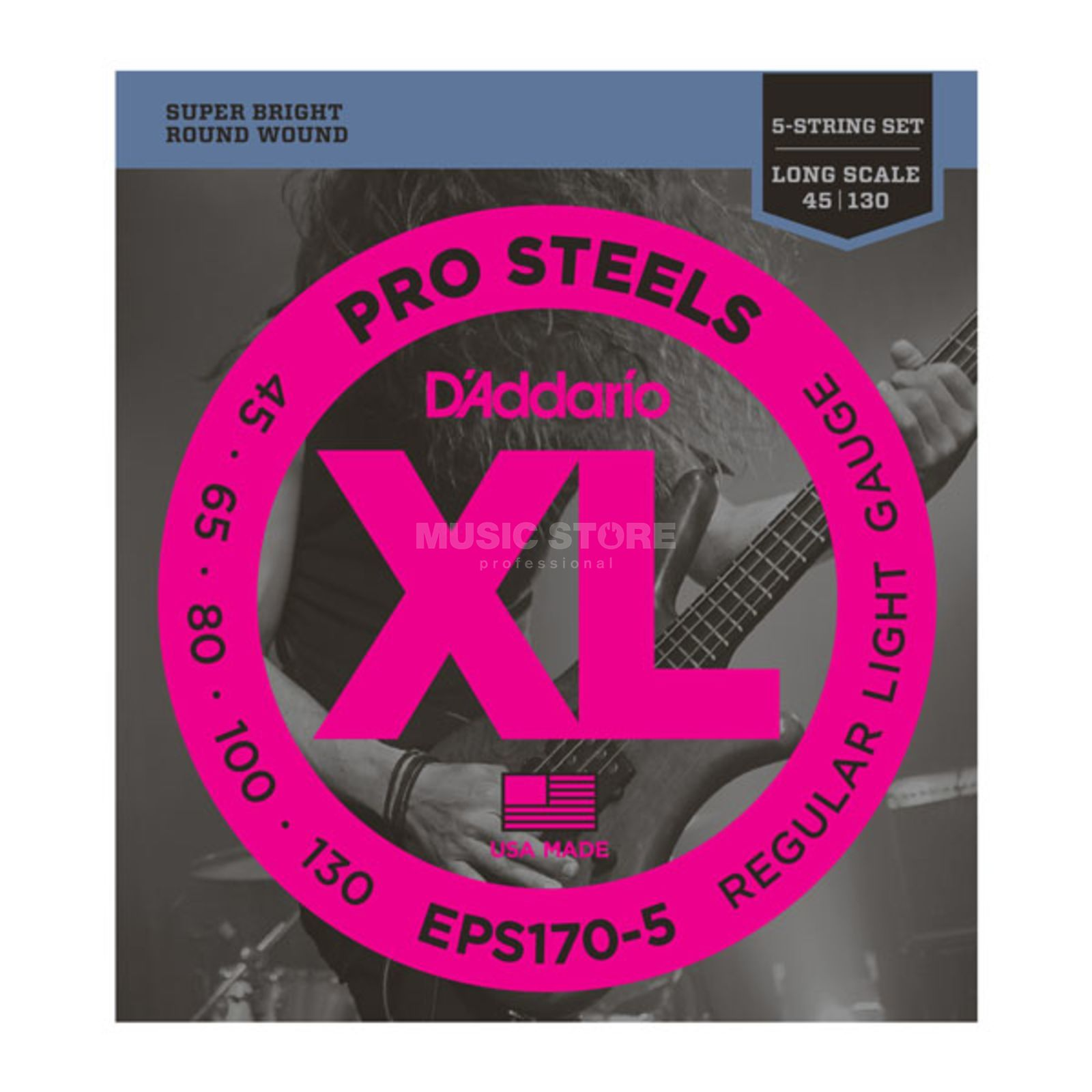 D'Addario Bass Strings Pro Steels 45-130 45-65-80-100-130, EPS170-5 Product Image