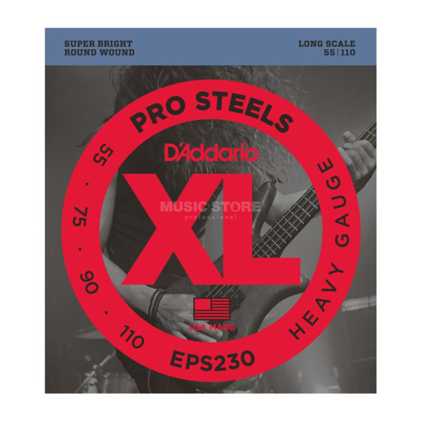 D'Addario Bass Strings Pro Steels 55-110 55-75-90-110, EPS230 Product Image