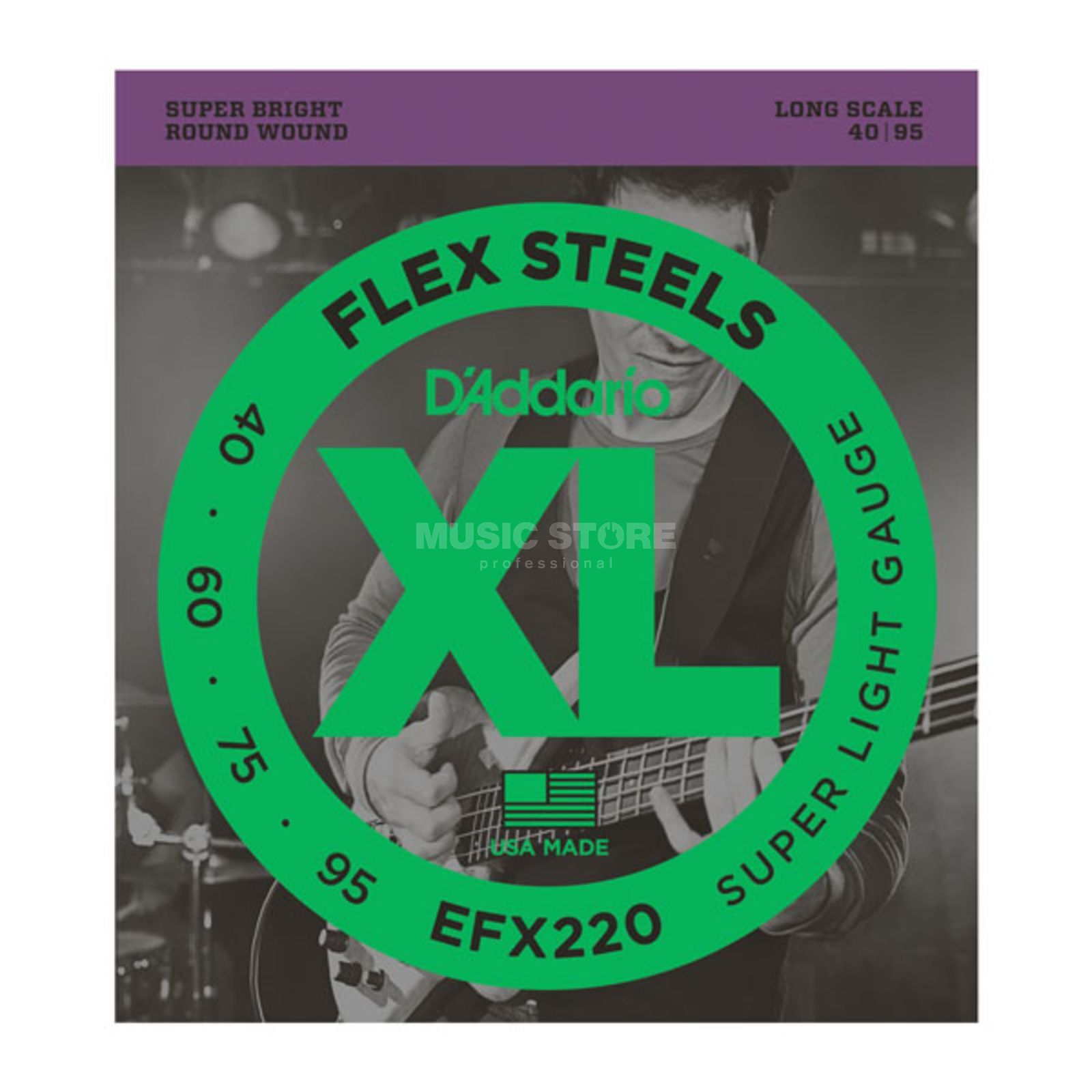 D'Addario Bass Strings Set of 4 EFX FlexSteels 40-095 40-60-075-95, EFX220 Immagine prodotto