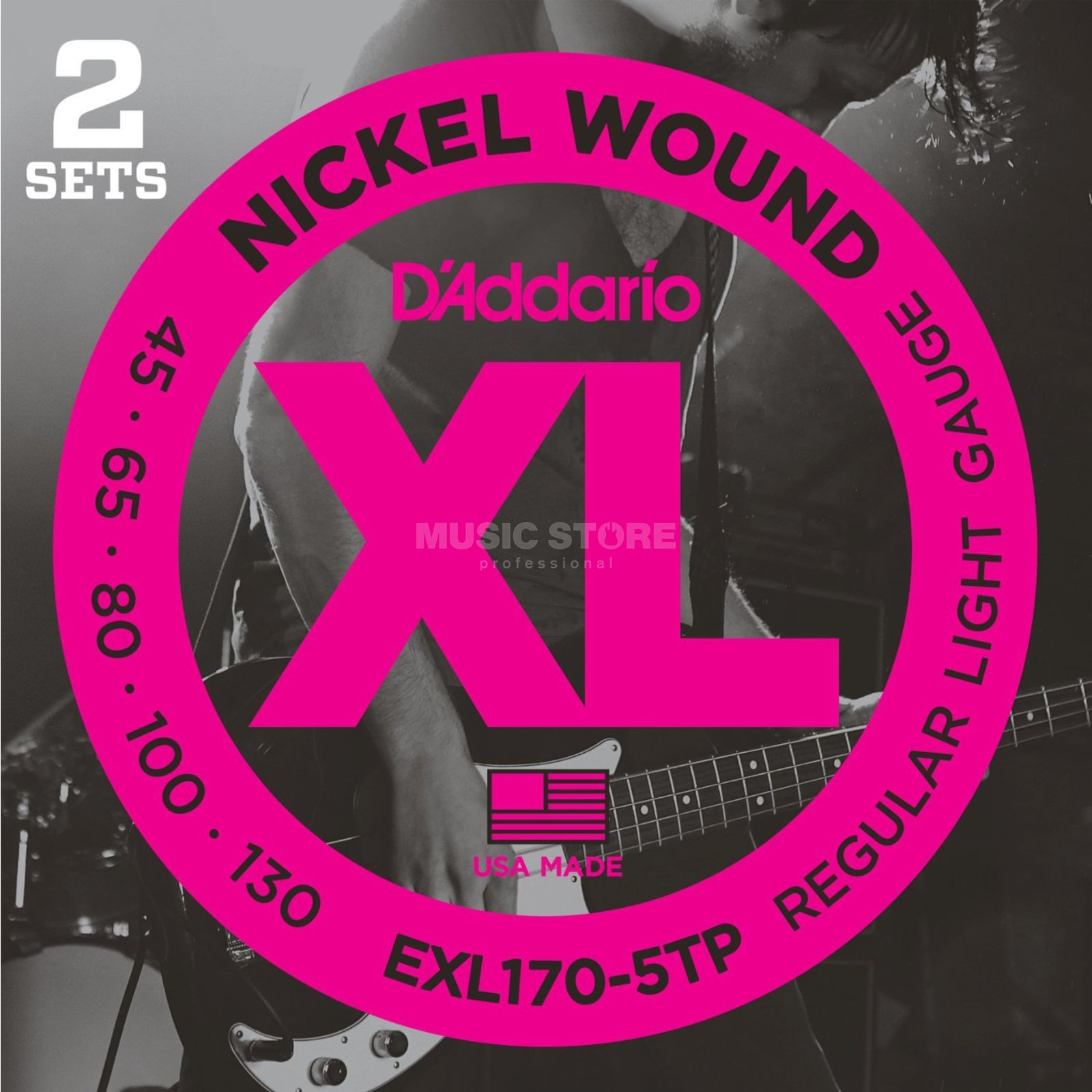 D'Addario Bass Strings XL 45-130 2 Sets 045-065-080-100-130,EXL170-5TP Product Image