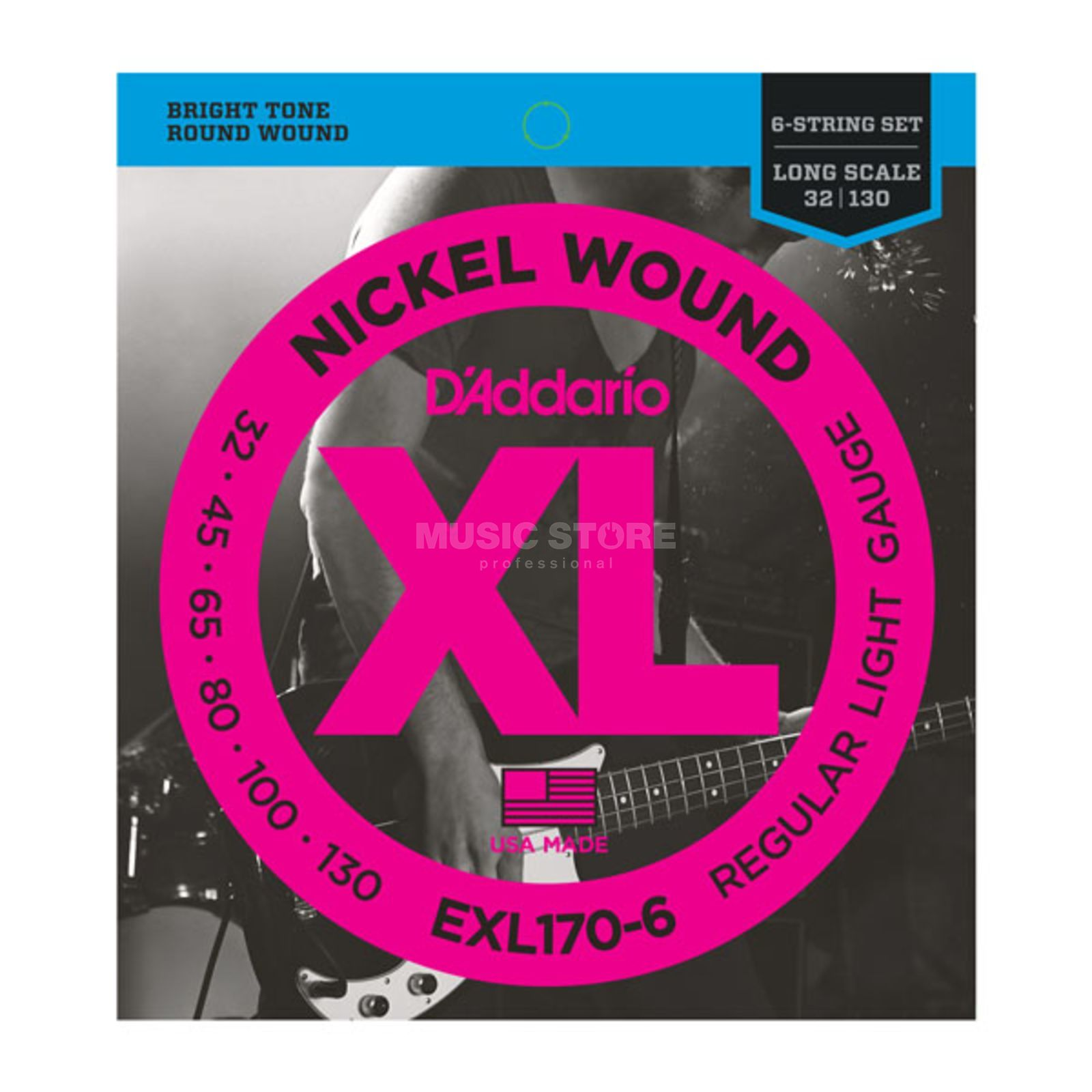 D'Addario Bass Strings XL Nickel 32-130 32-45-65-80-100-130, EXL170-6 Product Image