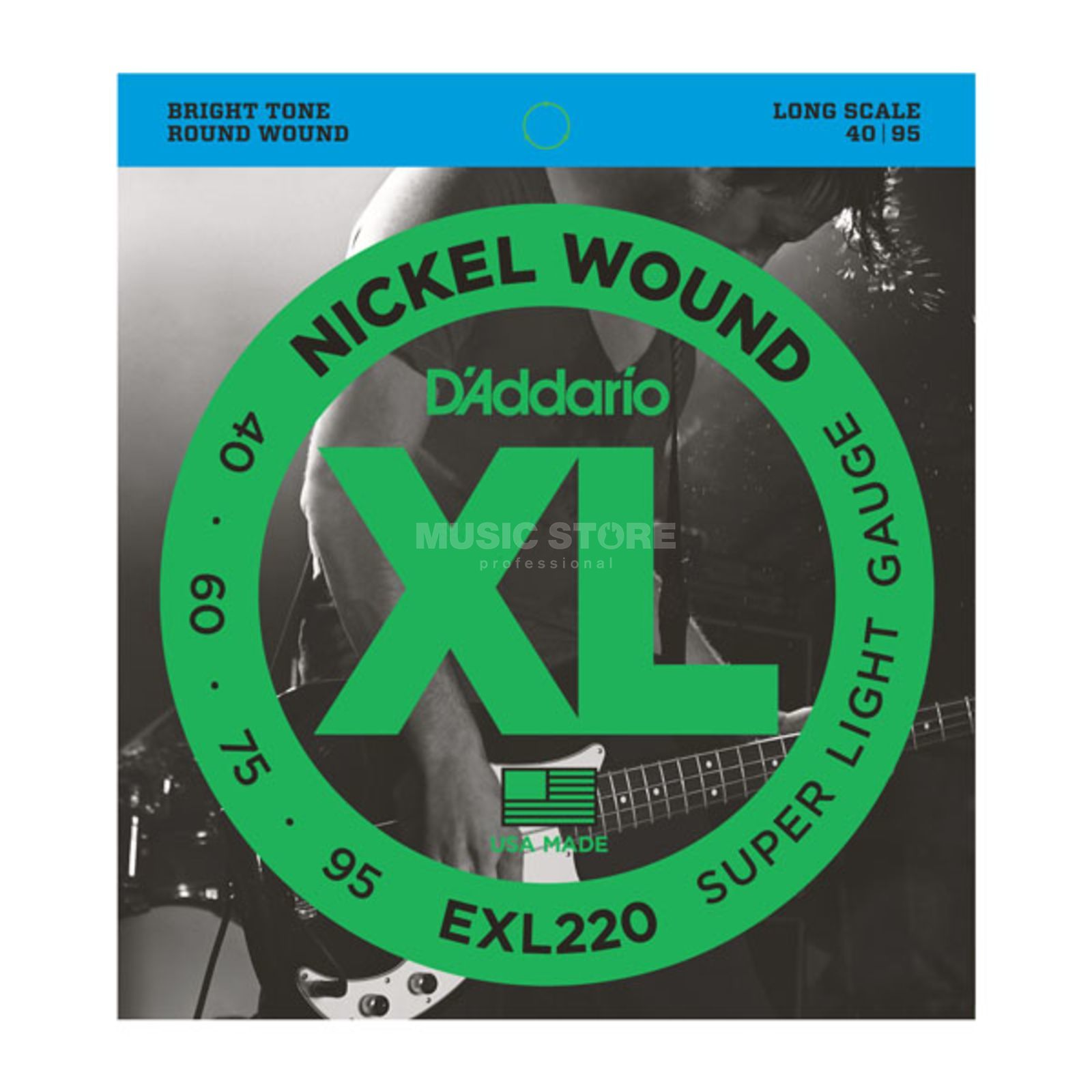 D'Addario Bass Strings XL Nickel 40-095 40-60-75-95, EXL220 Product Image