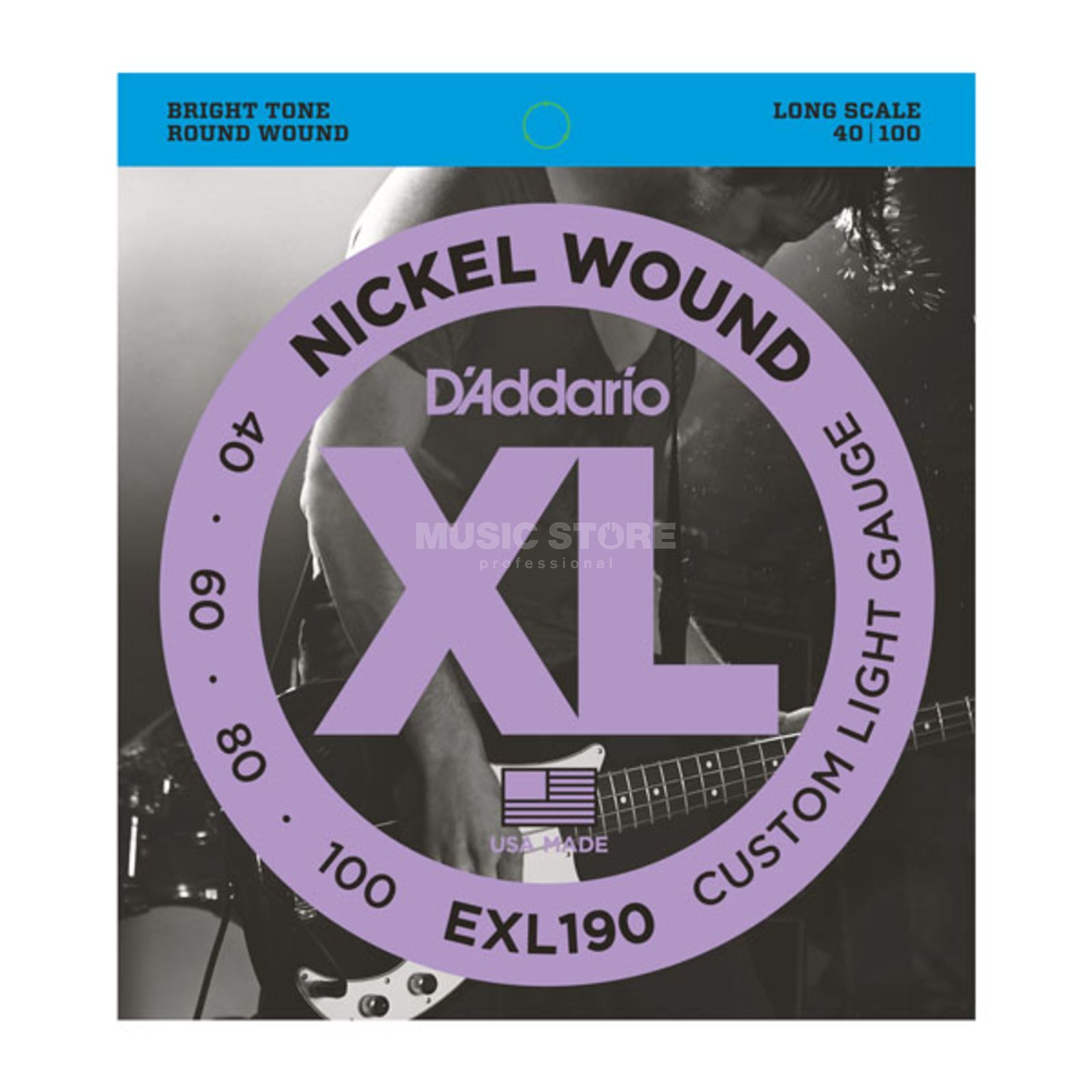 D'Addario Bass Strings XL Nickel 40-100 40-60-80-100, EXL190 Zdjęcie produktu