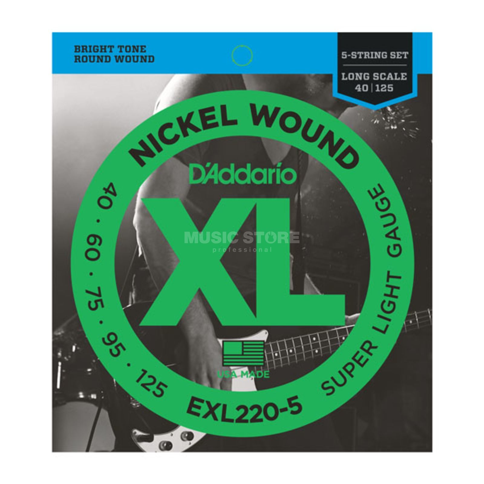 D'Addario Bass Strings XL Nickel 40-125 40-60-75-95-125, EXL220-5 Produktbillede