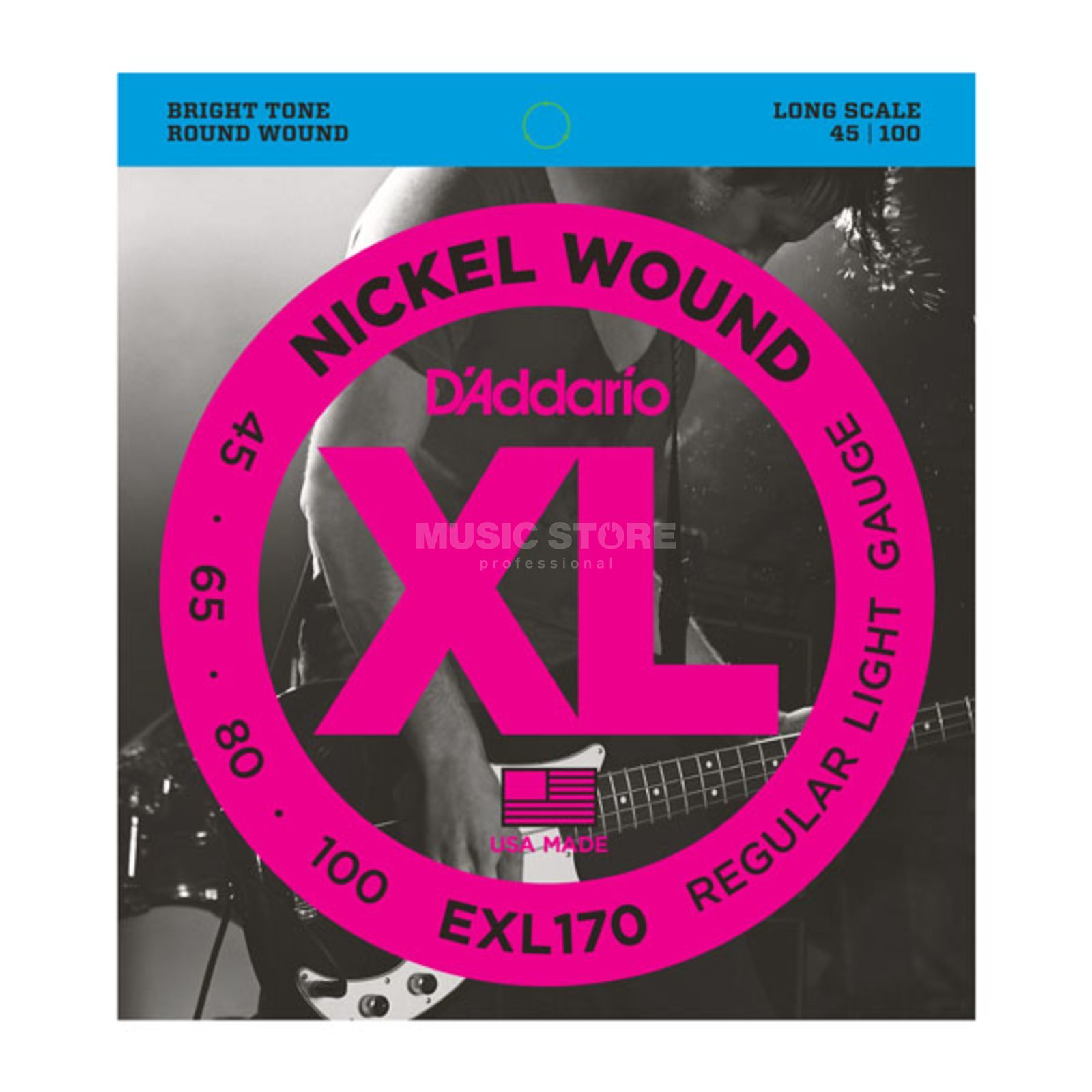 D'Addario Bass Strings XL Nickel 45-100 45-65-80-100, EXL170 Product Image