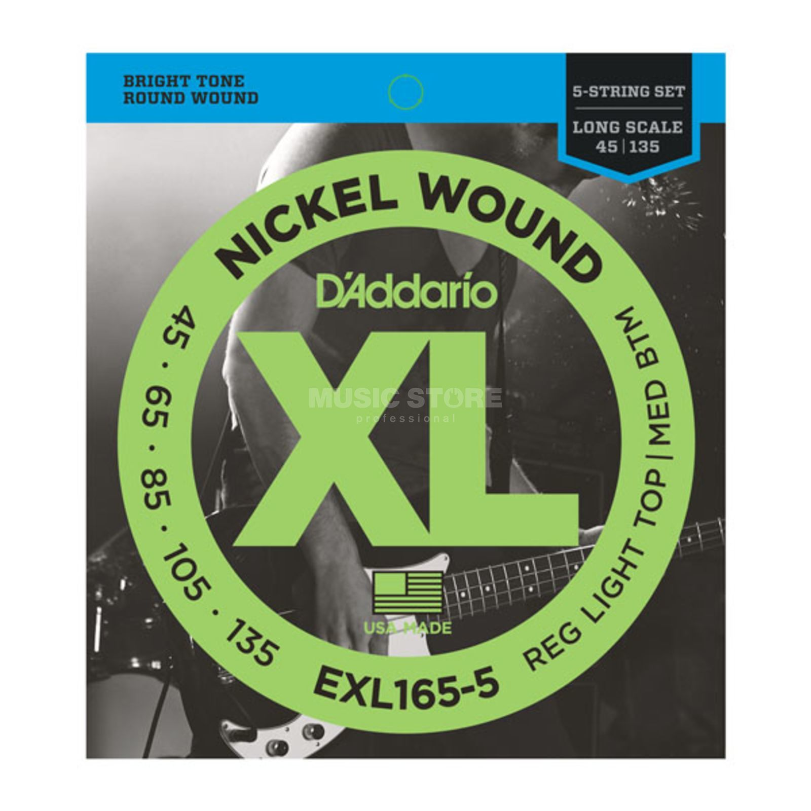 D'Addario Bass Strings XL Nickel 45-135 45-65-85-105-135, EXL165-5 Product Image