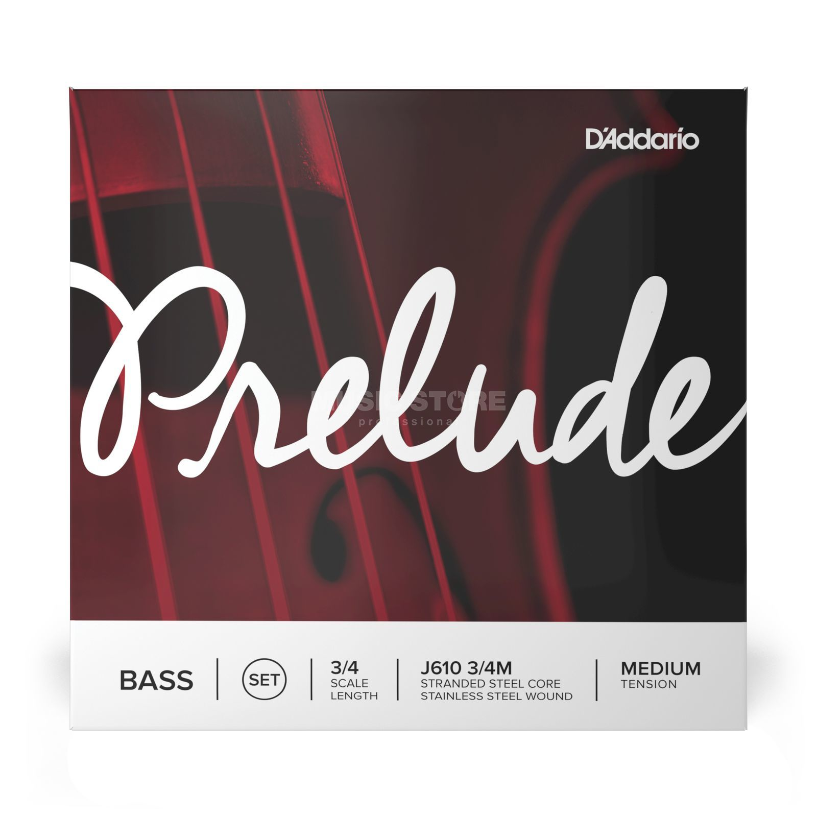 D'Addario Contrabass String Set Prelude 3/4 Medium, steel core, J610 Imagem do produto