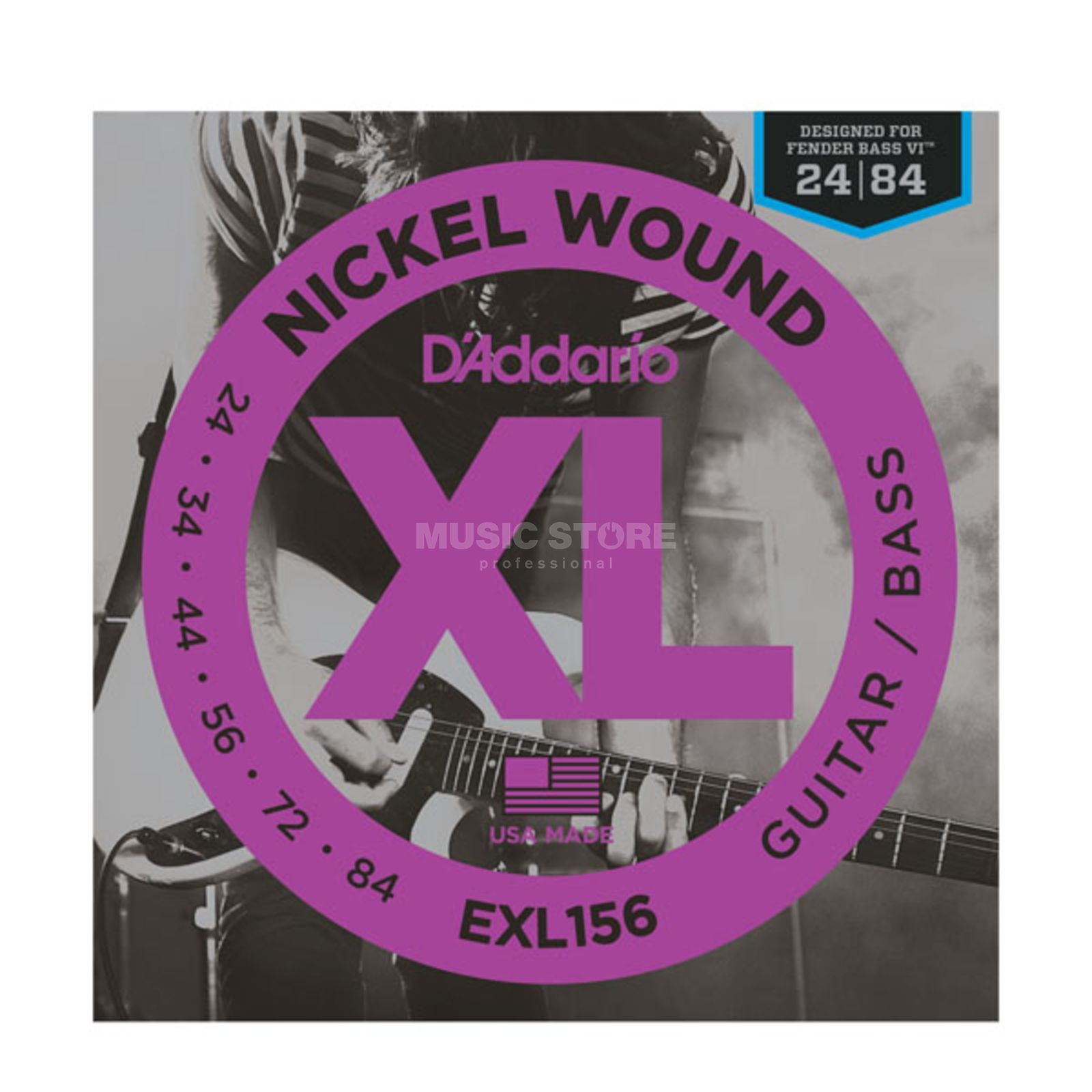 D'Addario E-Guit./Bass Strings XL156 24- 84,Nickel Wound,Fender Bass VI Produktbillede