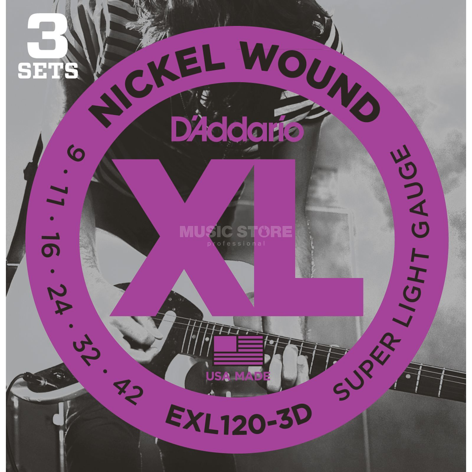 D'Addario E-Guit.Strings 09-42 EXL120-3D Nickel Wound 3 Sets Produktbillede