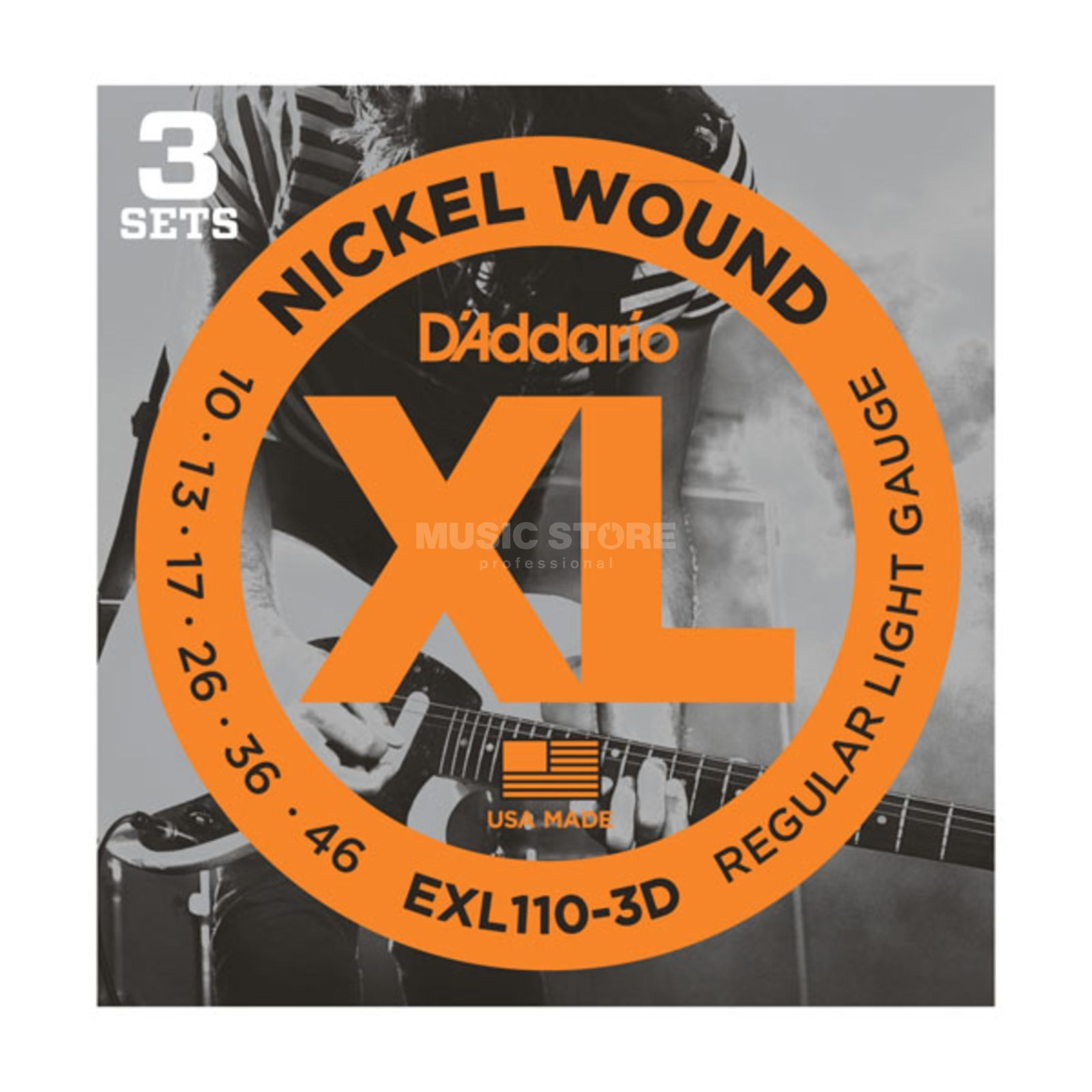 D'Addario E-Guit.Strings 10-46 EXL110-3D Nickel Wound 3 Sets Produktbillede