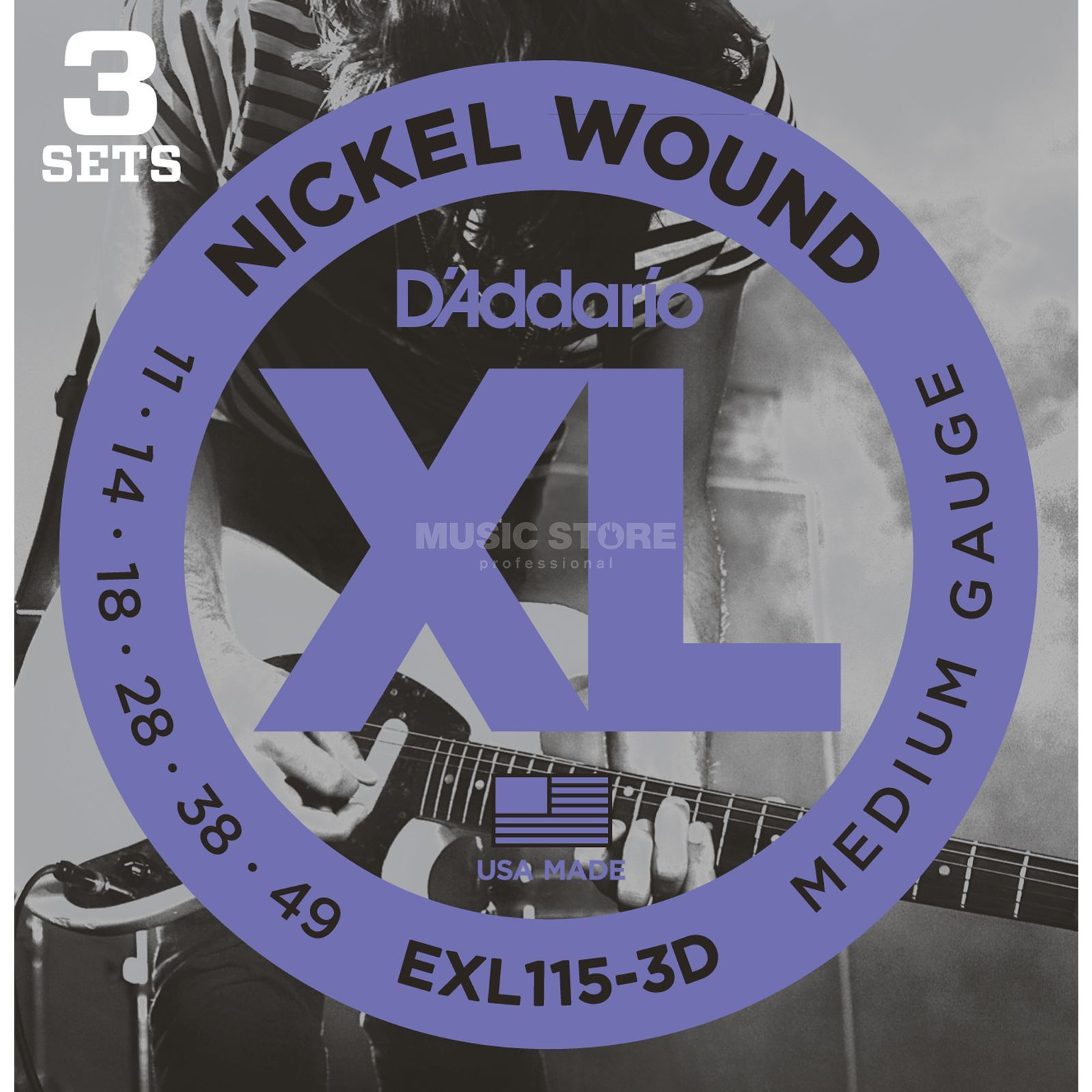 D'Addario E-Guit.Strings EXL115-3D 11-49 Nickel Wound 3 Sets Produktbillede
