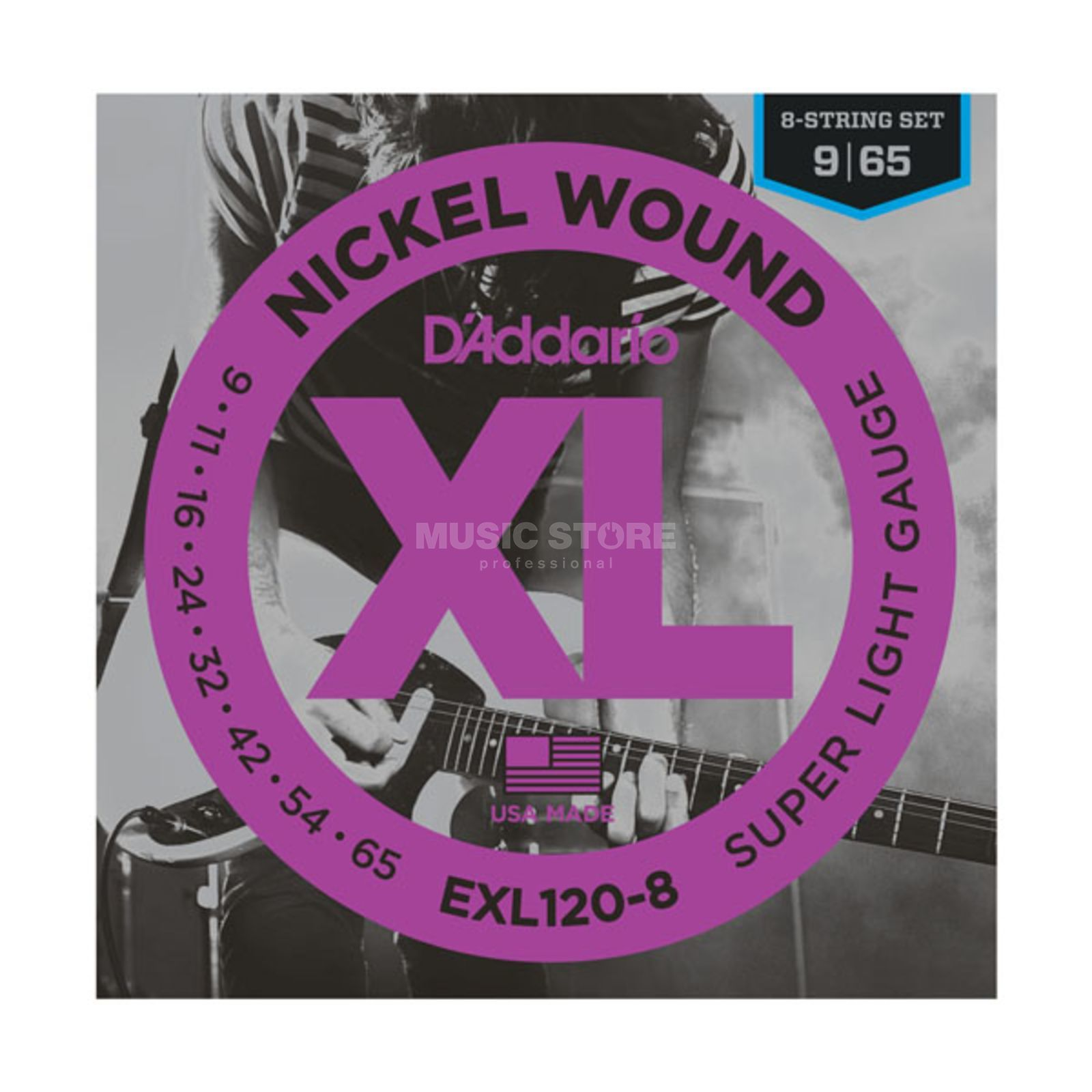 D'Addario E-Guit.Strings EXL120-8 09-65 Nickel Wound 8-String Produktbillede
