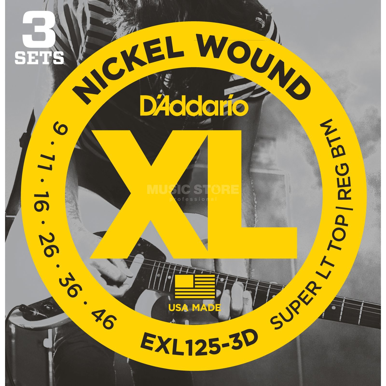 D'Addario E-Guit.Strings EXL125-3D 09-46 Nickel Wound 3 Sets Produktbillede