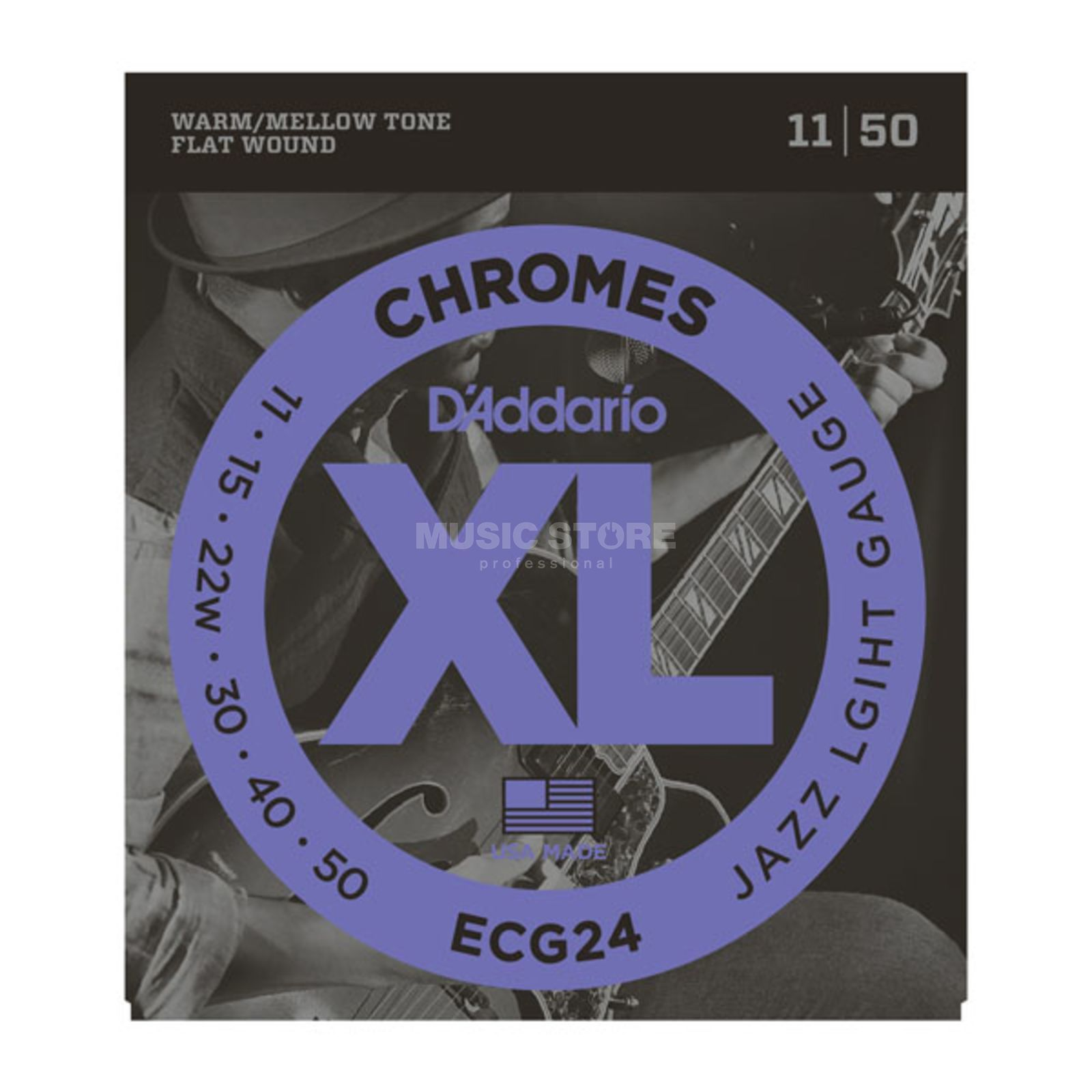 D'Addario E-Guitar Strings ECG24 11-50 Chromes Flatwound Produktbillede