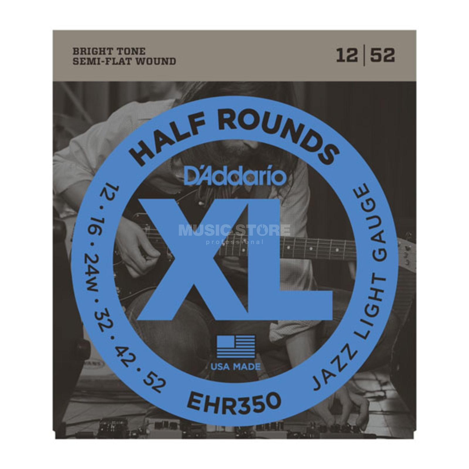 D'Addario E-Guitar Strings EHR350 12-52 Half Rounds Stainless Steel Product Image