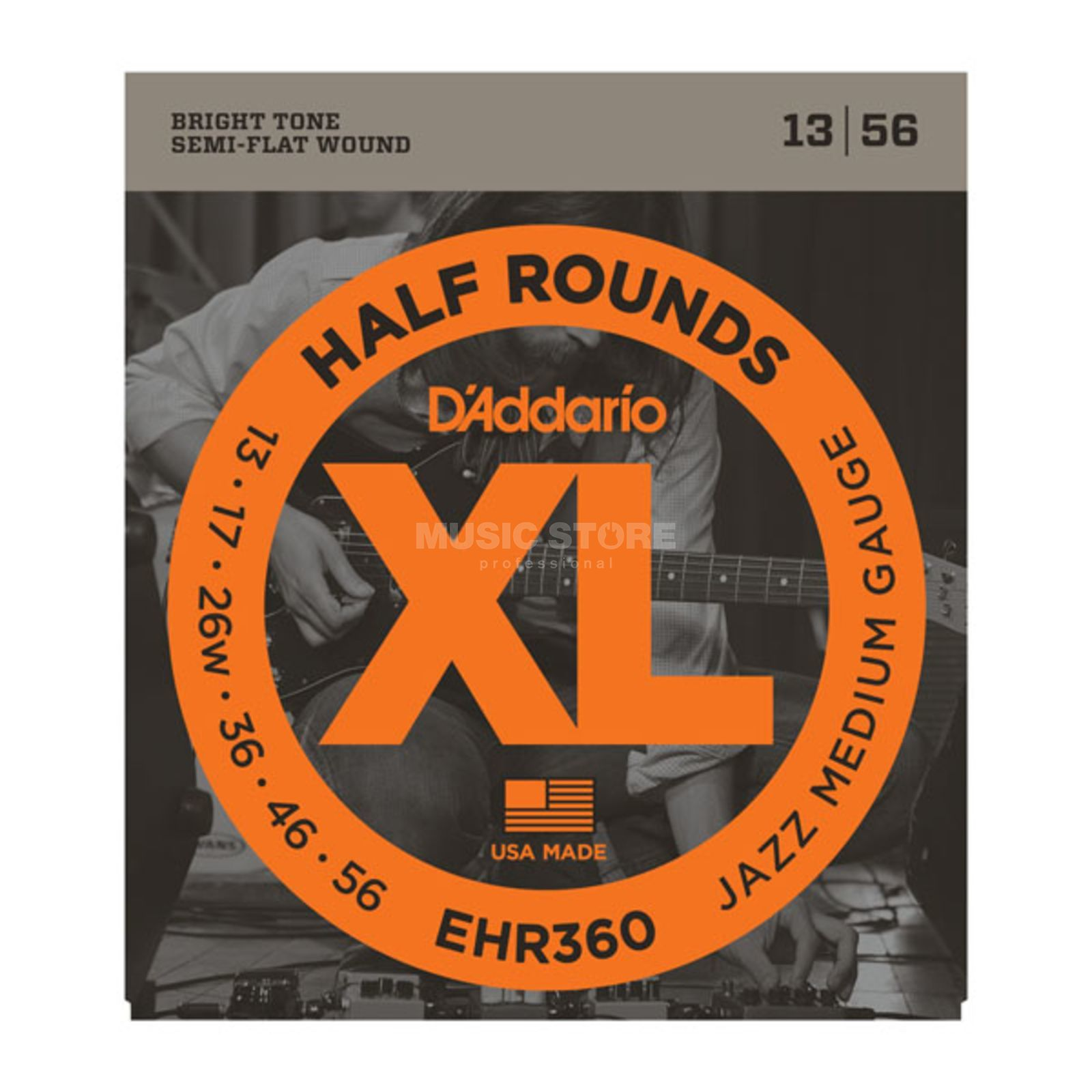 D'Addario E-Guitar Strings EHR360 13-56 Half Rounds Stainless Steel Produktbillede