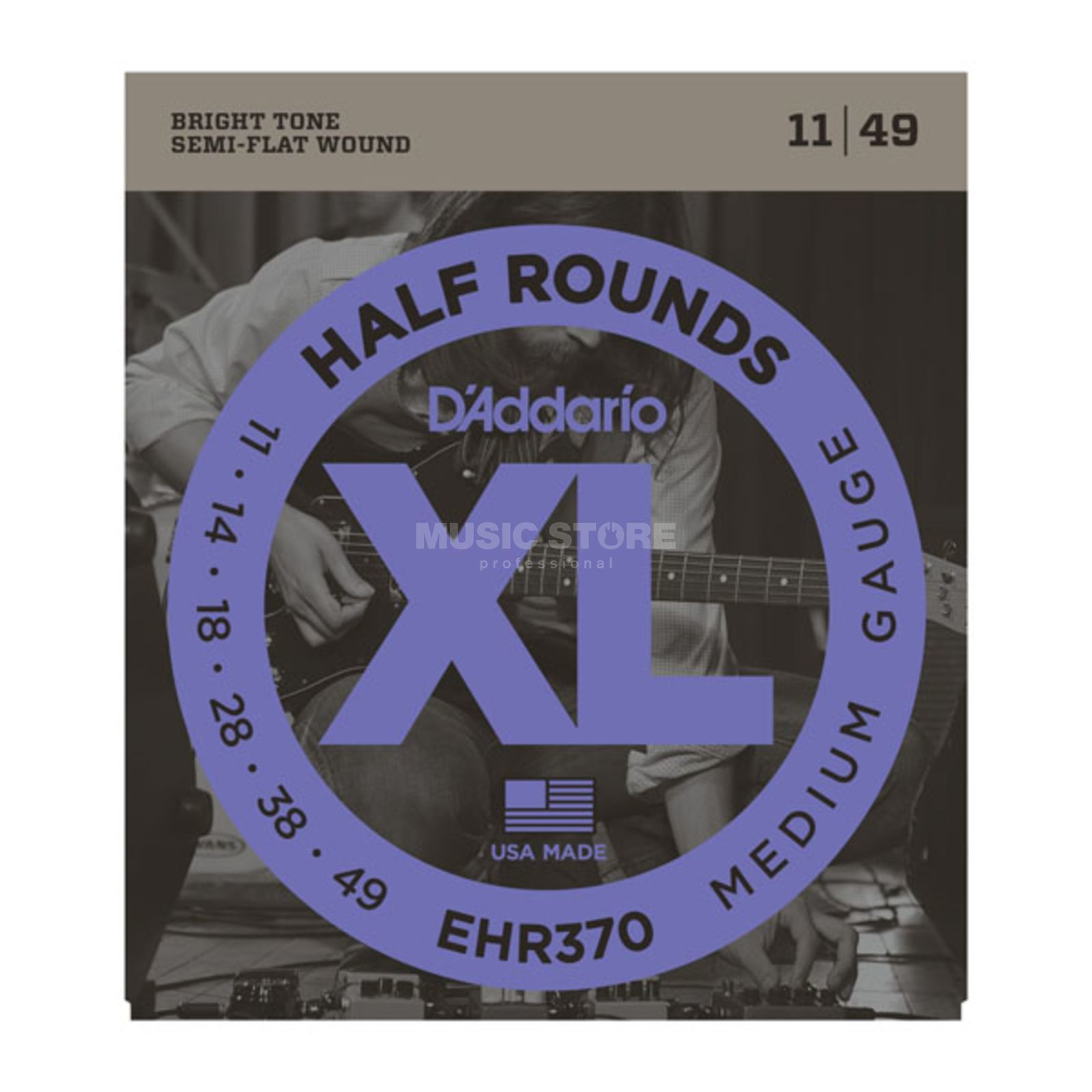 D'Addario E-Guitar Strings EHR370 11-49 Half Rounds Stainless Steel Produktbillede