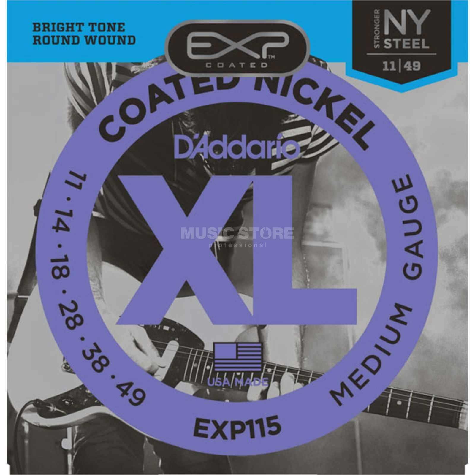D'Addario EXP115 11-49 Coated Nickel Plated Medium Blues/Jazz Produktbild