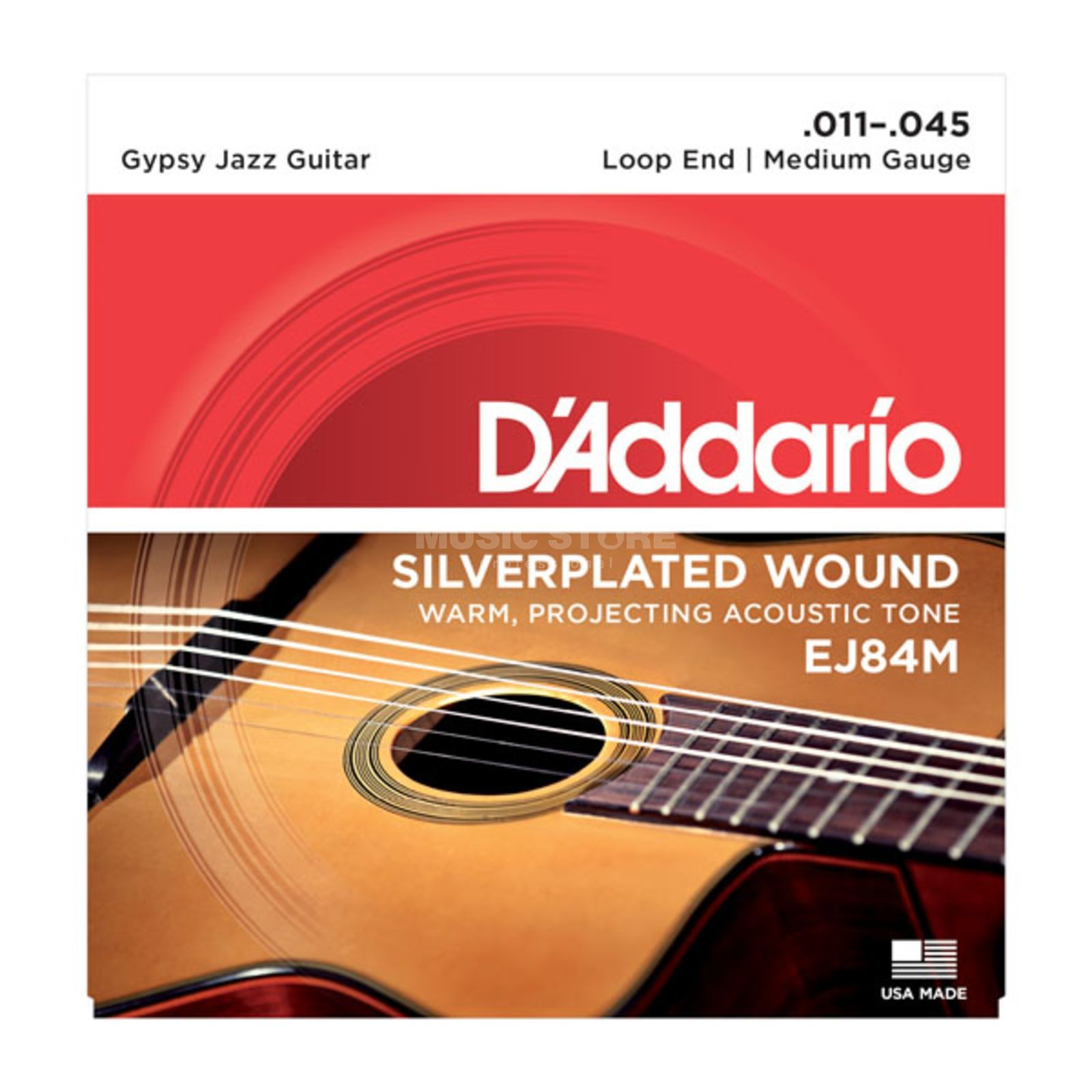 D'Addario Gypsy Jazz Saiten EJ84M 11-45 Loop End, Silverplated Wound Produktbillede