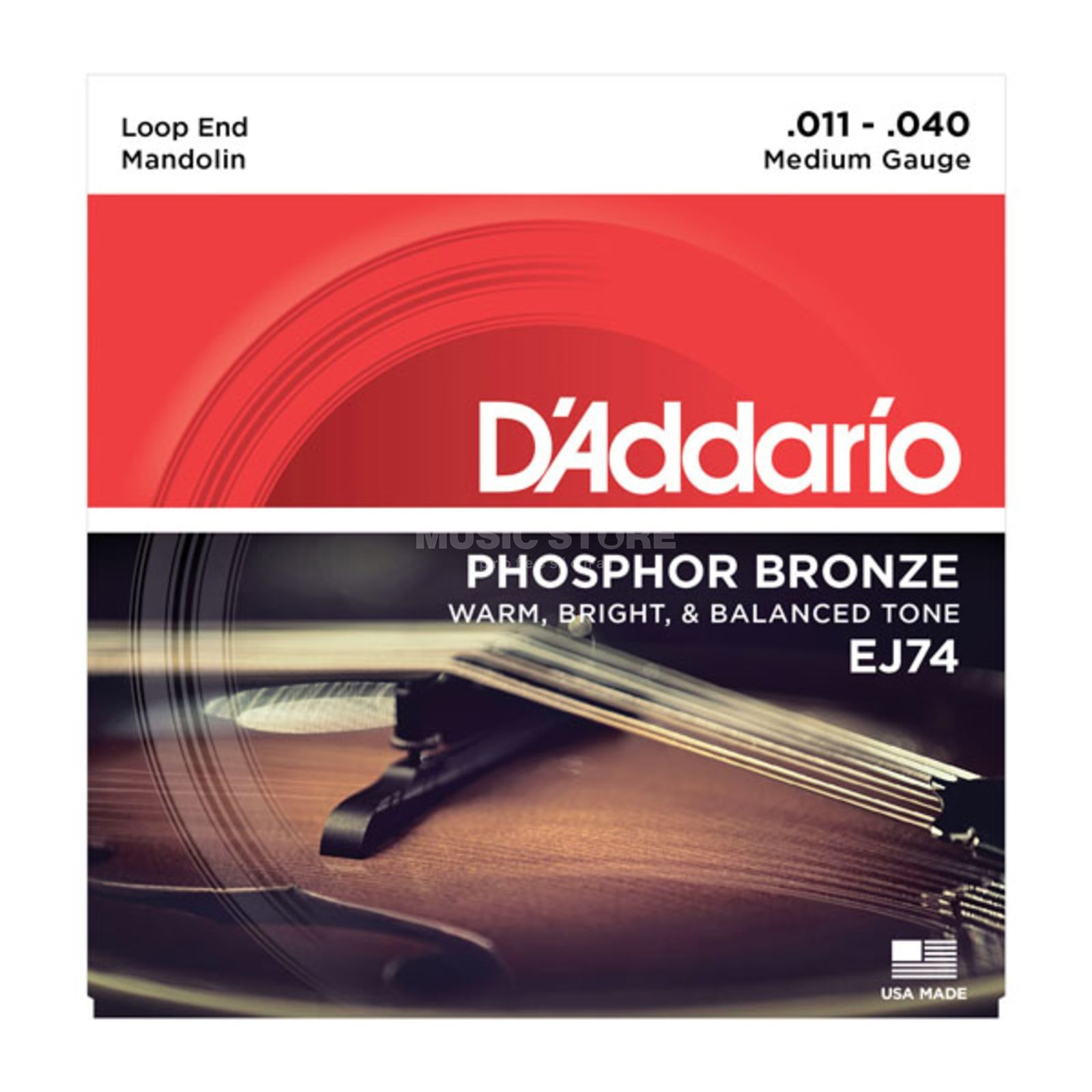 D'Addario Mandolin Strings J74 11-40 Phosphor Bronze Loop End Produktbillede