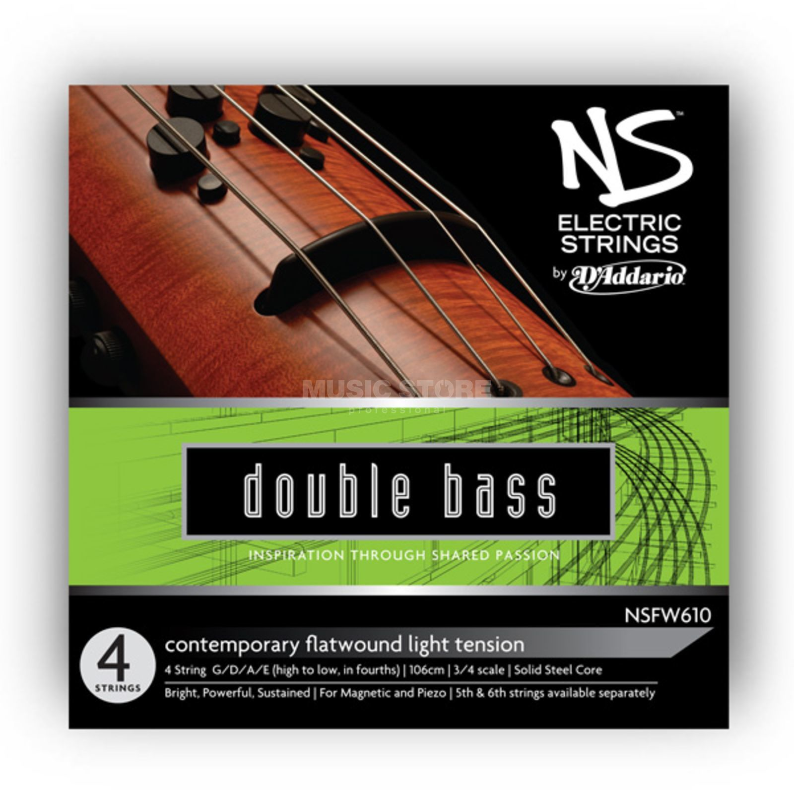 D'Addario NSFW610 E-Cont. Double Bass 3/4 Scale, Medium Tension Produktbild