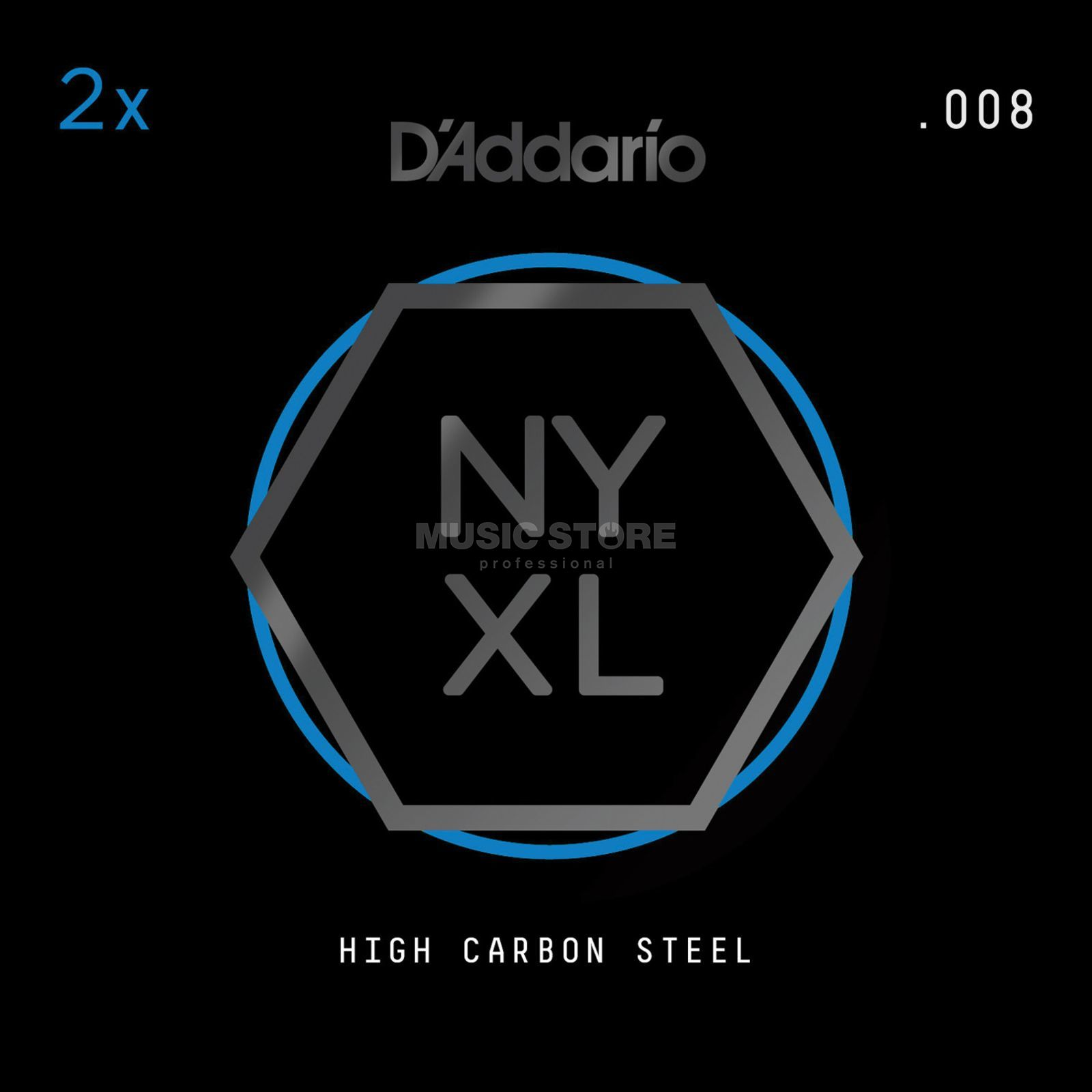 D'Addario NYPL008 Plain Single String 2-Pack - High Carbon Steel Produktbillede
