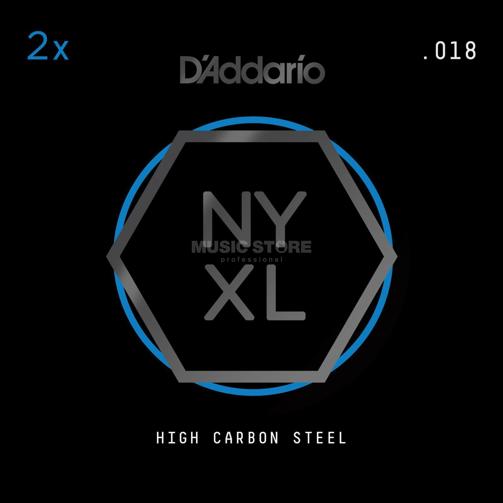 D'Addario NYPL018 Plain Single String 2-Pack - High Carbon Steel Product Image