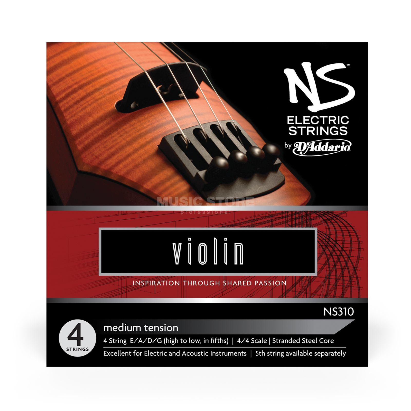 D'Addario Orchestral NS310 Electric Violin Set 4/4 Scale, Medium Tension Produktbillede