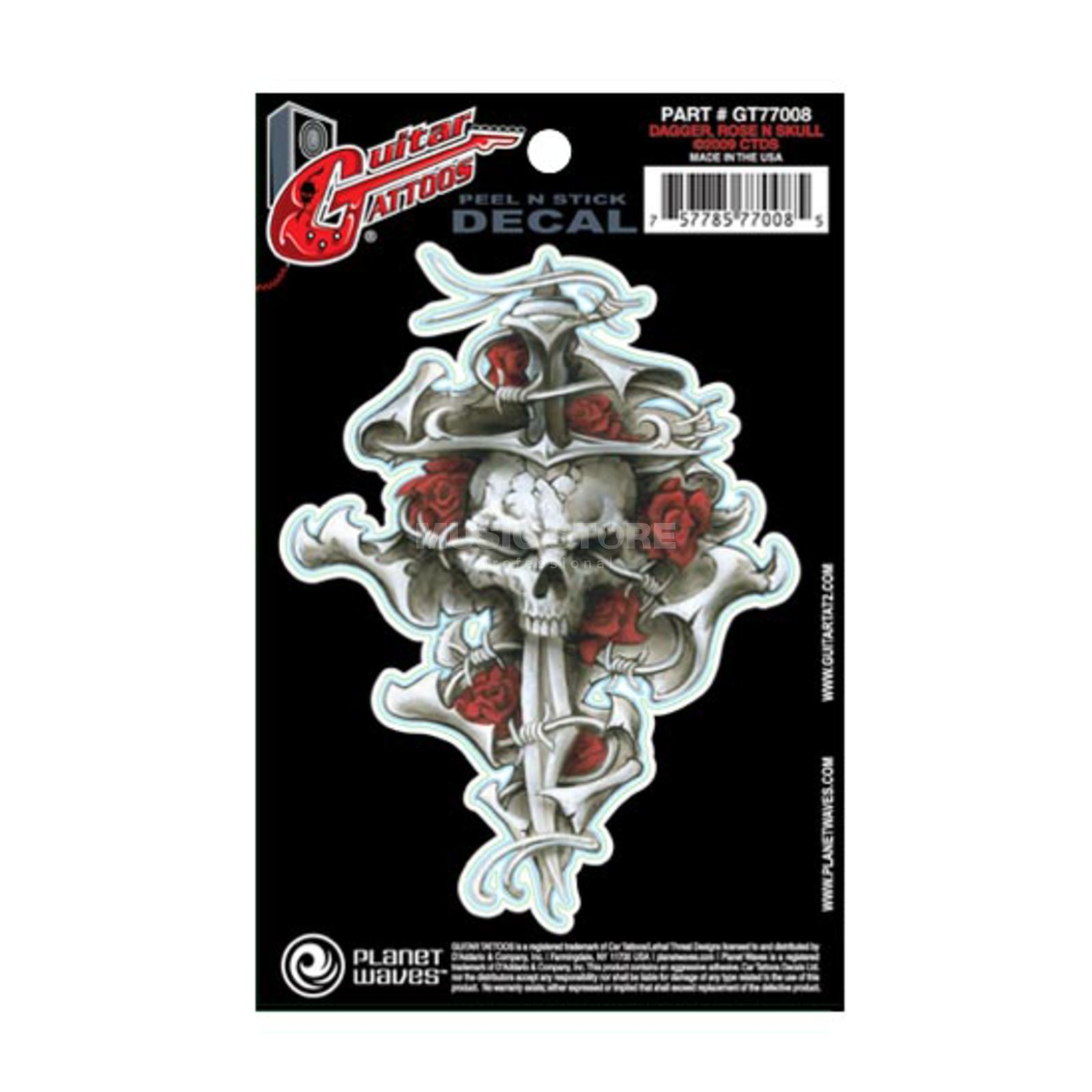 D'Addario Planet Waves Guitar Tattoo - Dagger Rose Skull, GT77008 Produktbillede