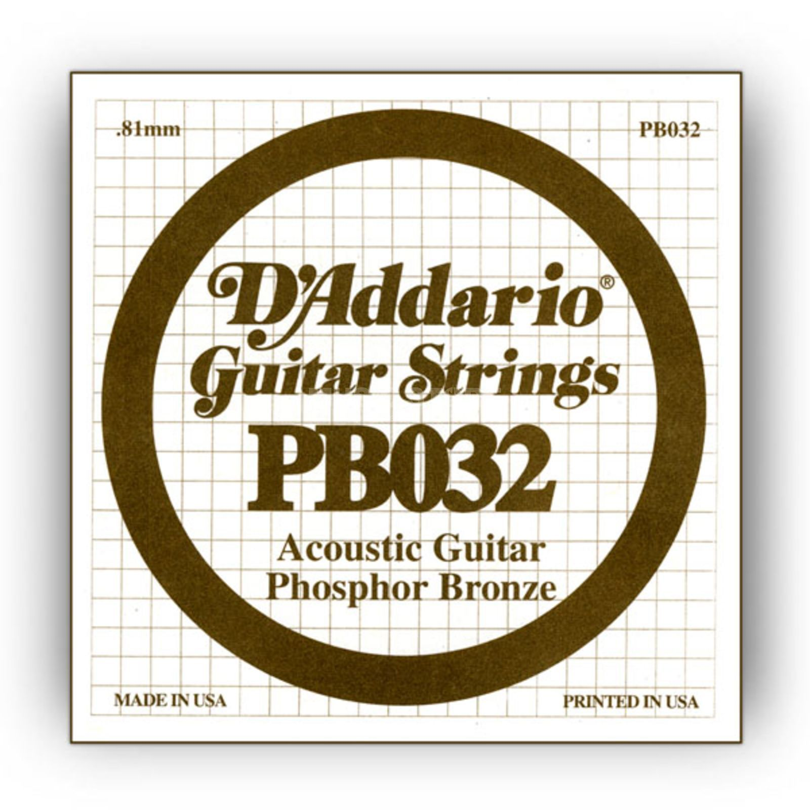 D'Addario Single String PB032 Phosphor Bronze Product Image