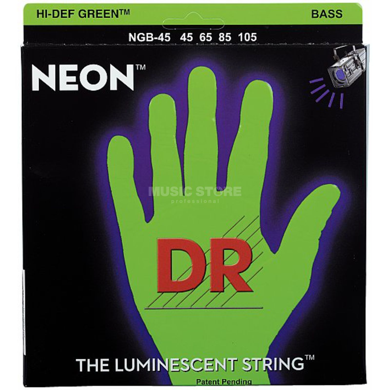 DR 4 Bass Strings 45-105 Hi-Def Neon Green Neon NGB-45 Product Image