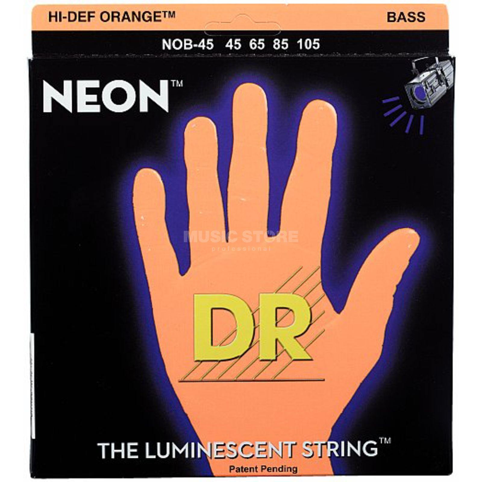 DR 4 Bass Strings 45-105 Hi-Def Neon Orange Neon NOB-45 Immagine prodotto