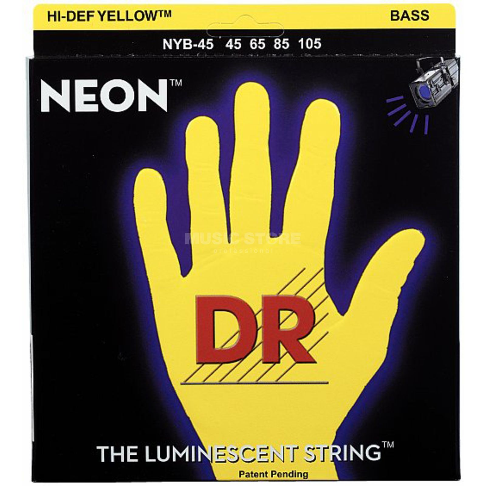 DR 4 Bass Strings 45-105 Hi-Def Neon Yellow Neon NYB-45 Product Image