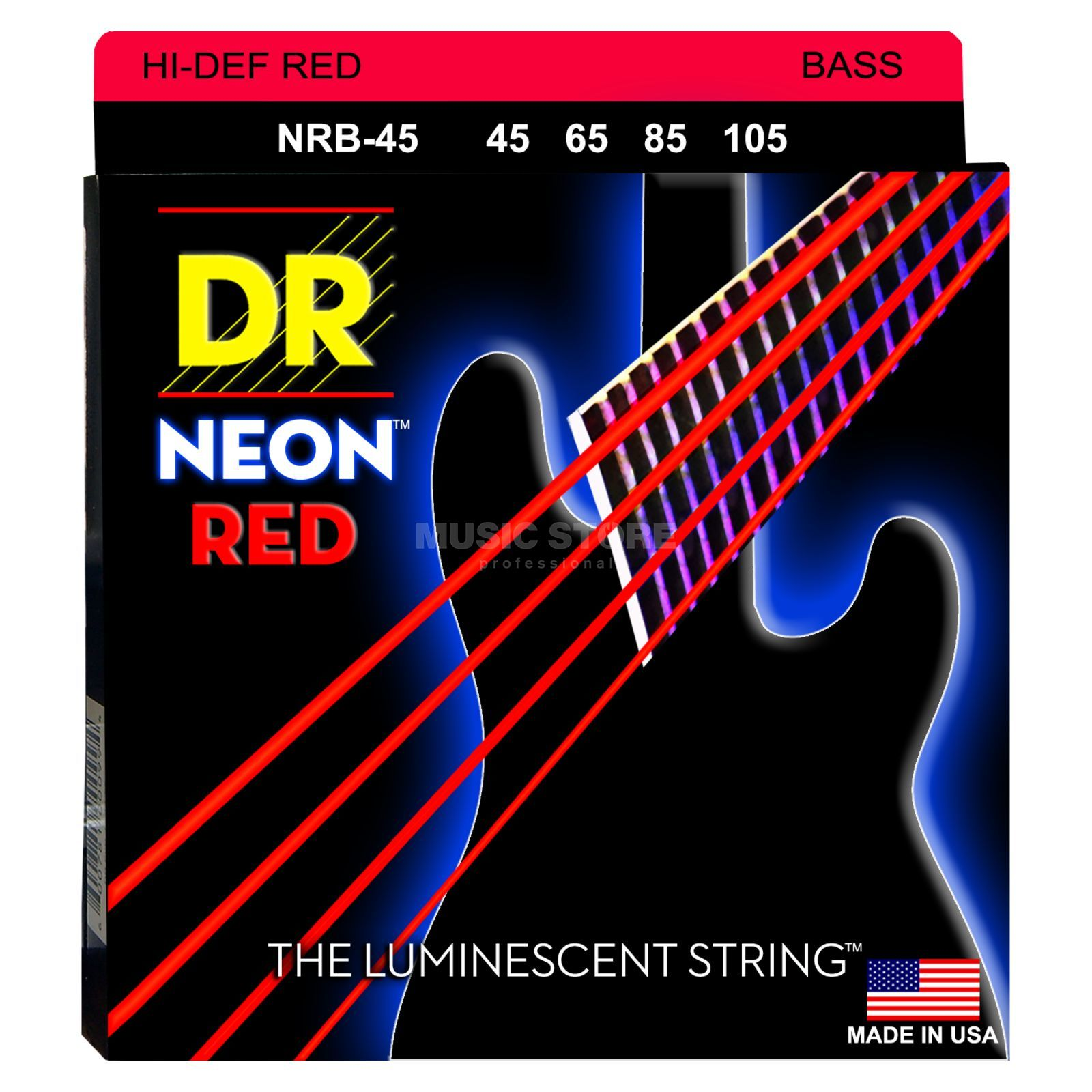 DR 4er bas 45-105 Hi-Def neon rood neon NRB-45 Productafbeelding