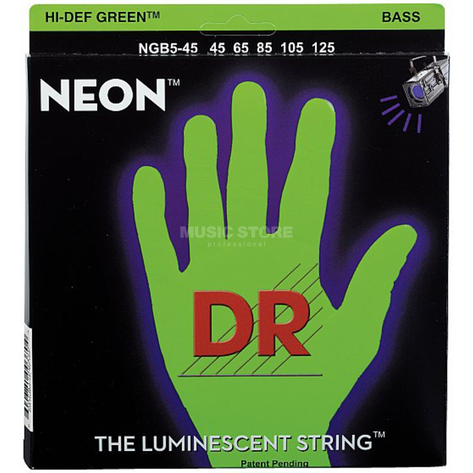 DR 5 Bass Strings 45-125 Hi-Def Neon Green Neon NGB5-45 Product Image
