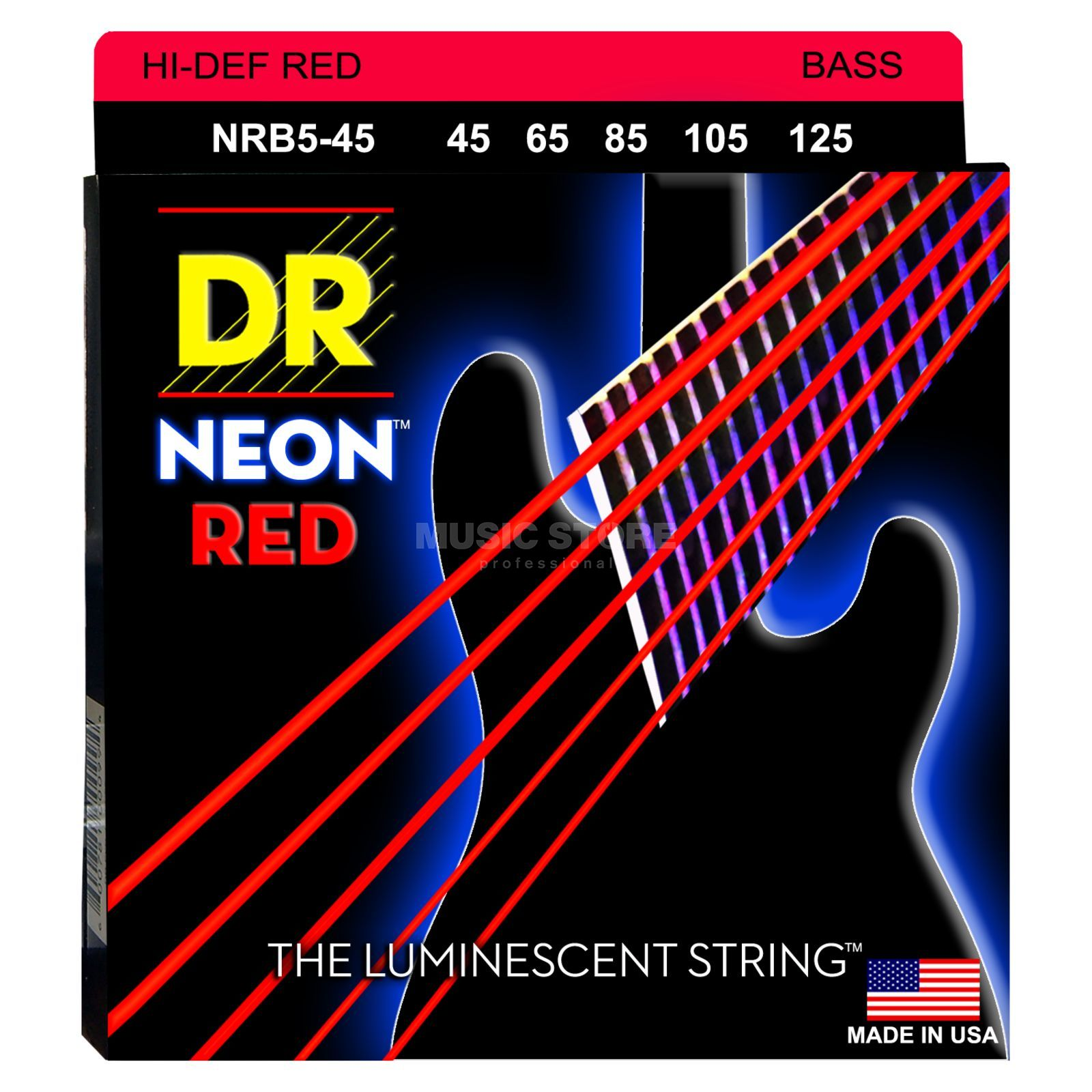 DR 5er bas 45-125 Hi-Def neon rood neon NRB5-45 Productafbeelding
