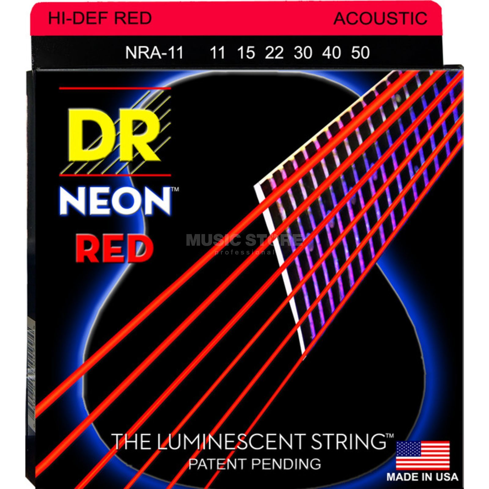 DR A-Guitar Strings 11-50 Hi-Def Red NRA-11 Produktbillede
