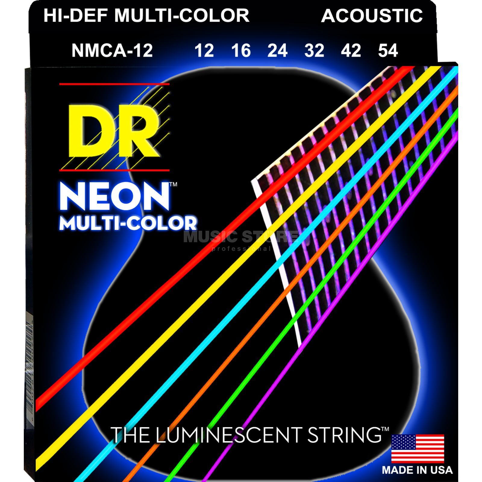 DR A-Guitar Strings 12-54 Hi-Def Neon Multi-Color MCA-12 Produktbillede