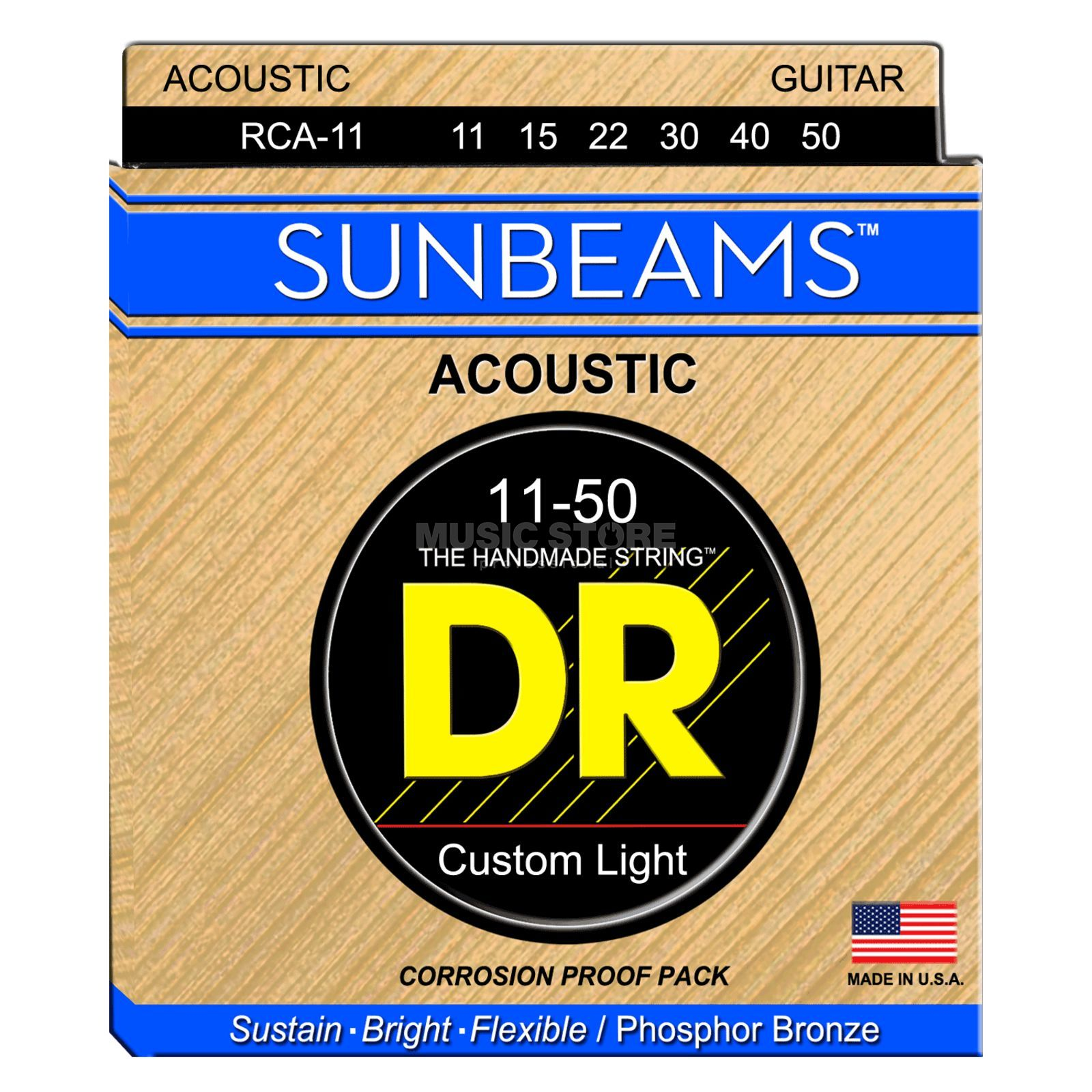 DR Acoustic Guiar Strings 11-50 Sunbeam Phosphorus Bronze RCA-11 Immagine prodotto